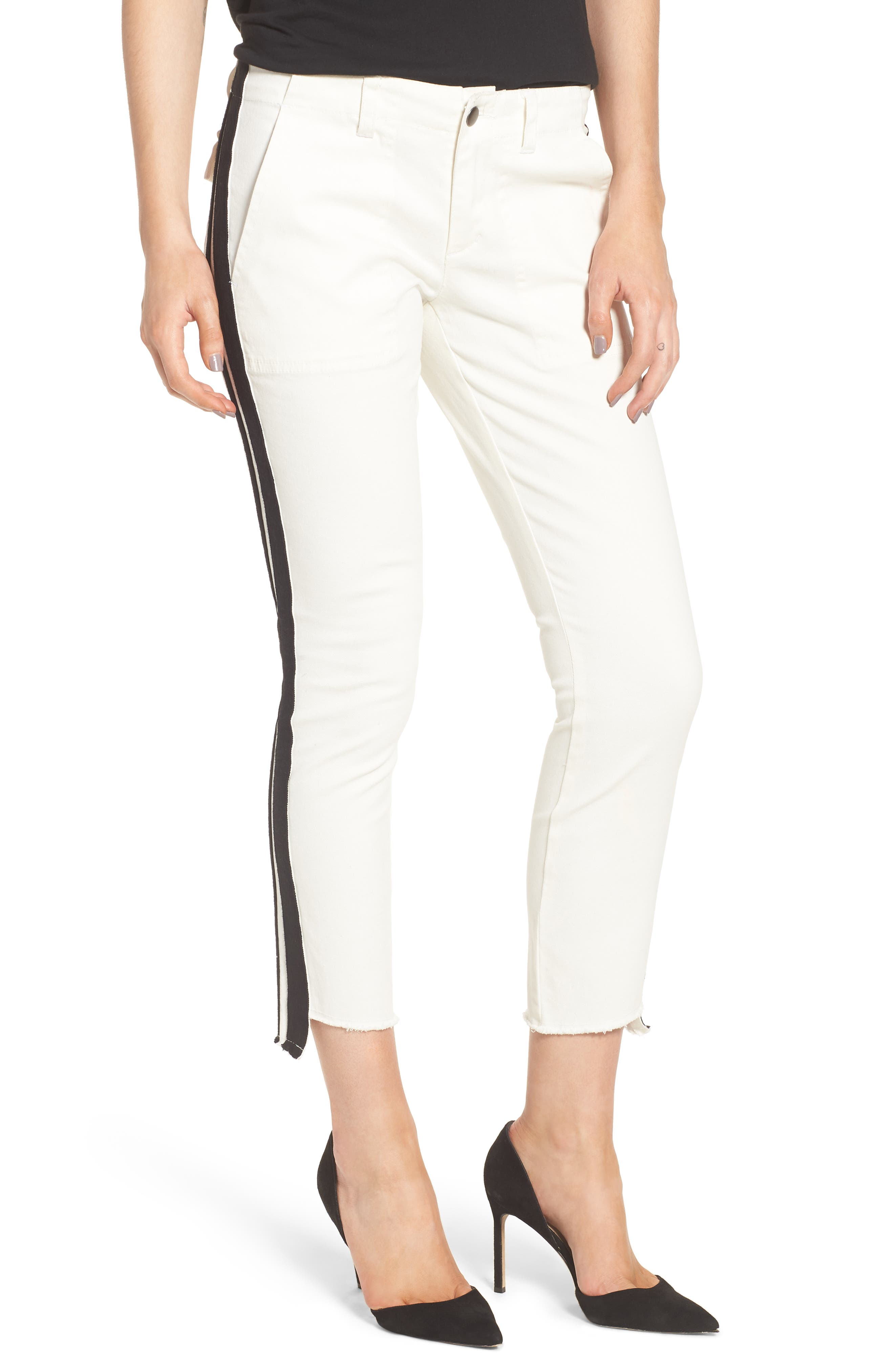 Offset Skinny Pants,                         Main,                         color, WHITE