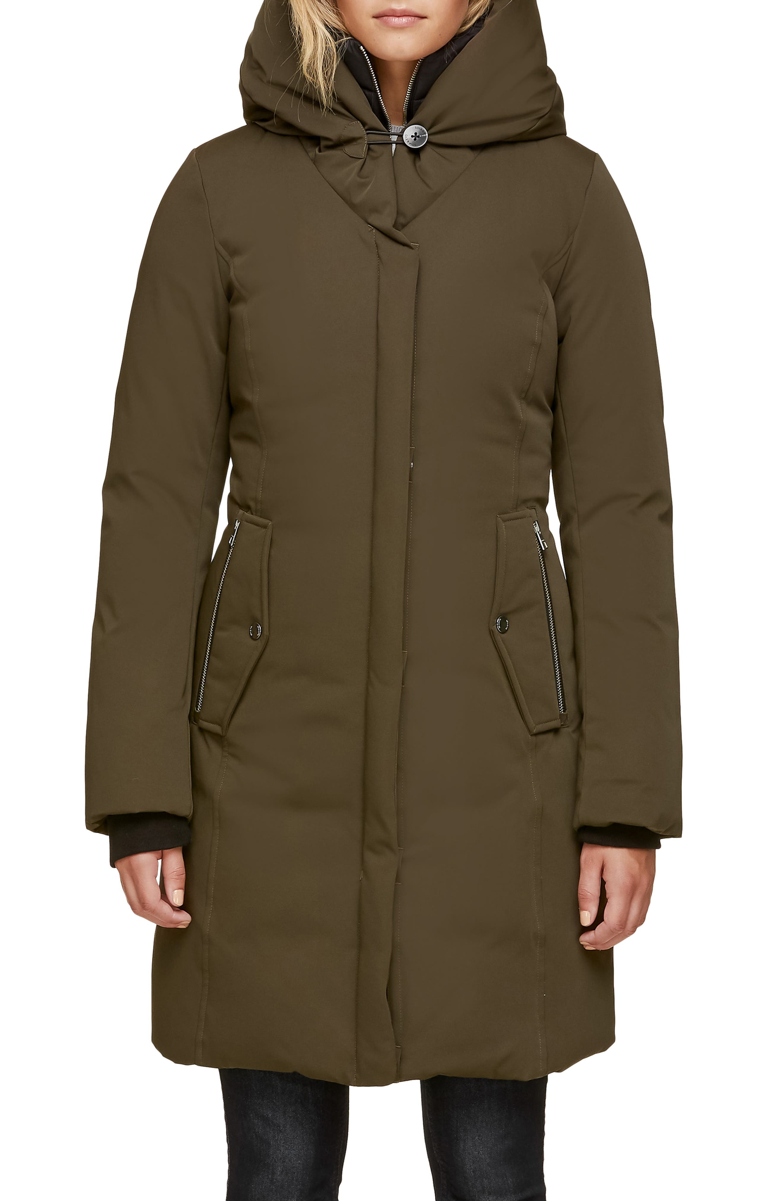 SOIA & KYO Slim Fit Hooded Down Coat, Main, color, ARMY