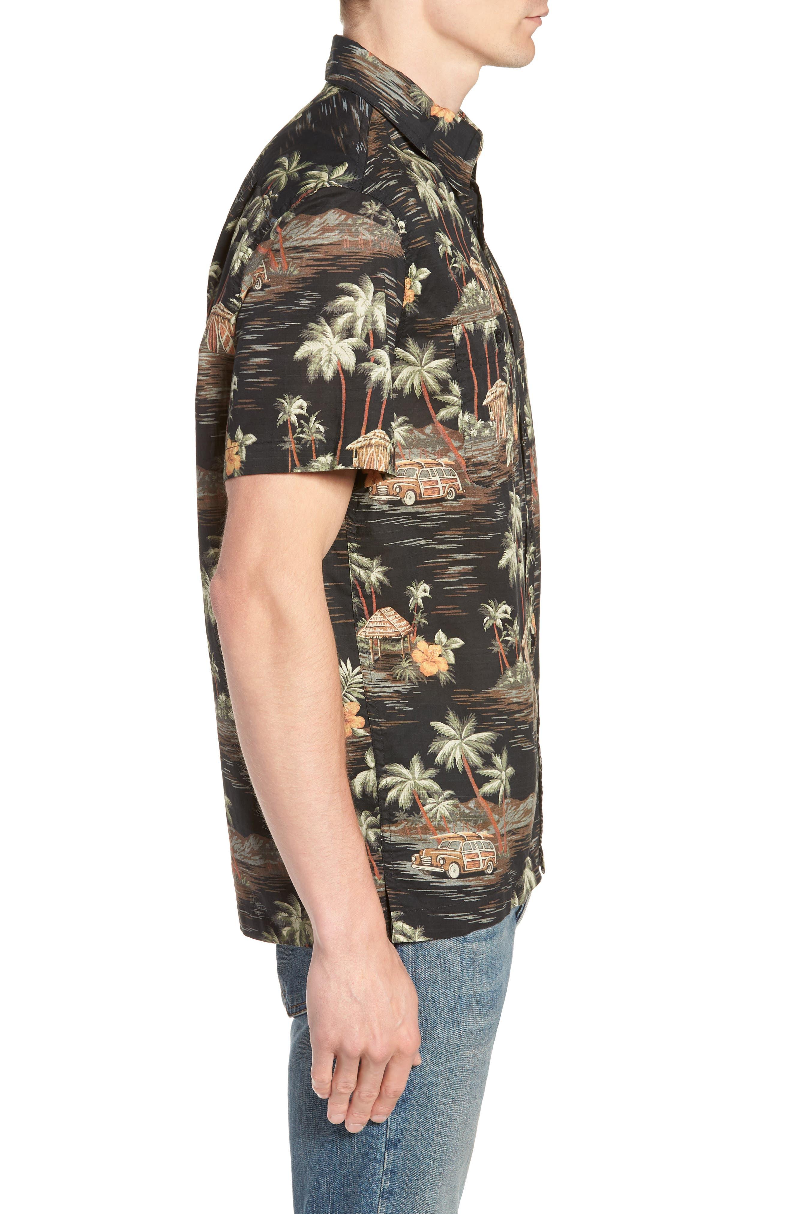 Wallace & Barnes Regular Fit Tropical Print Sport Shirt,                             Alternate thumbnail 3, color,                             001