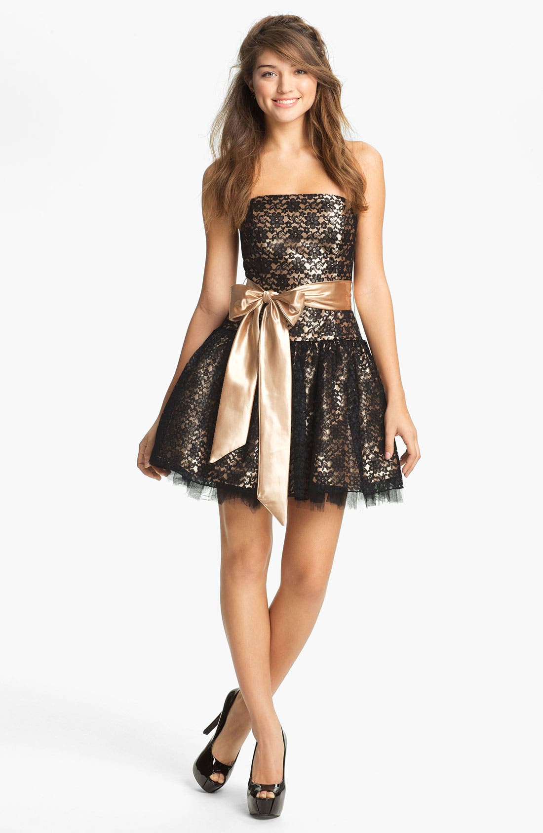 Strapless Lace & Tulle Dress,                             Main thumbnail 1, color,                             003