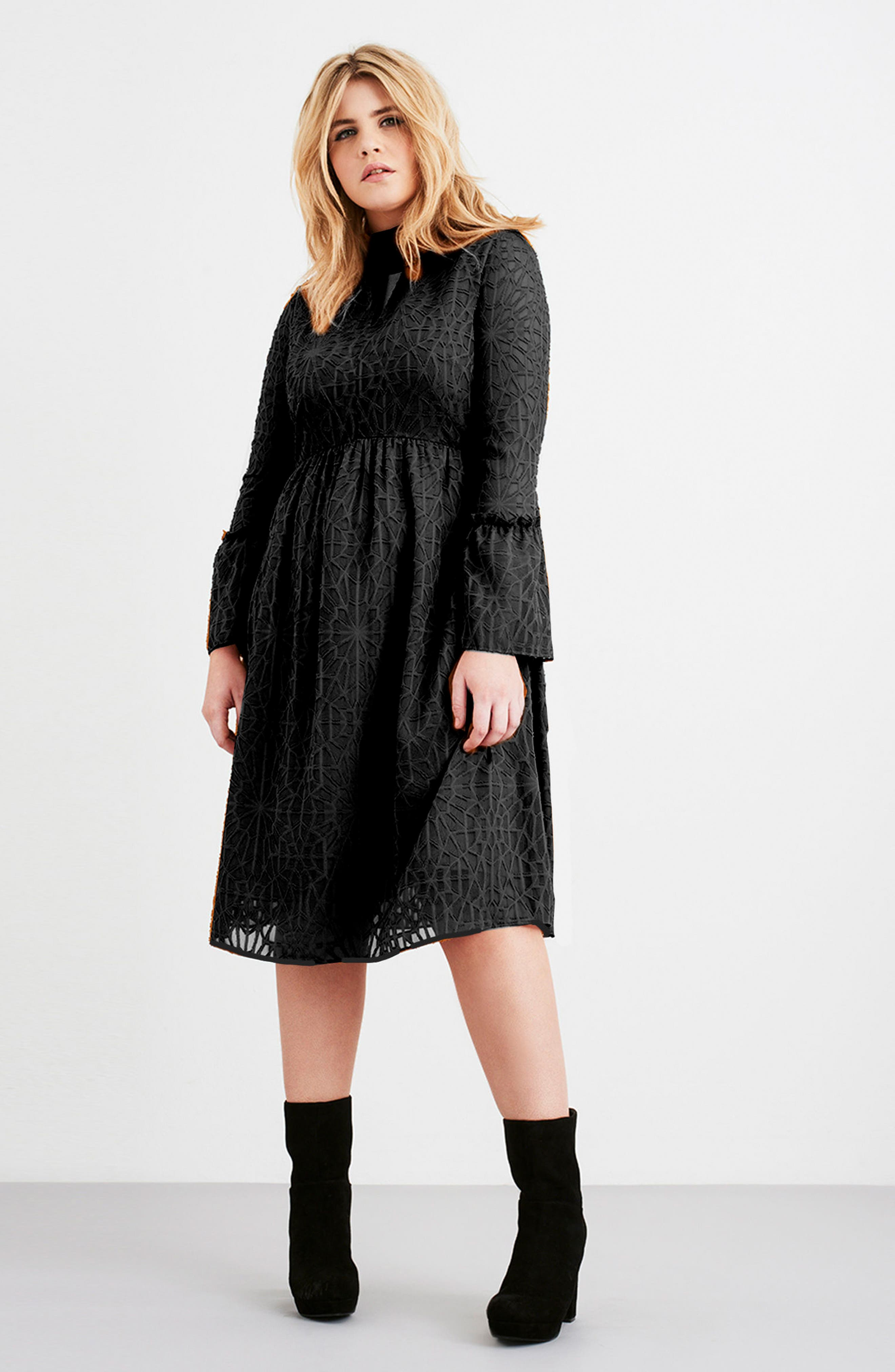 Geo Lace Fit & Flare Dress,                             Alternate thumbnail 7, color,                             001