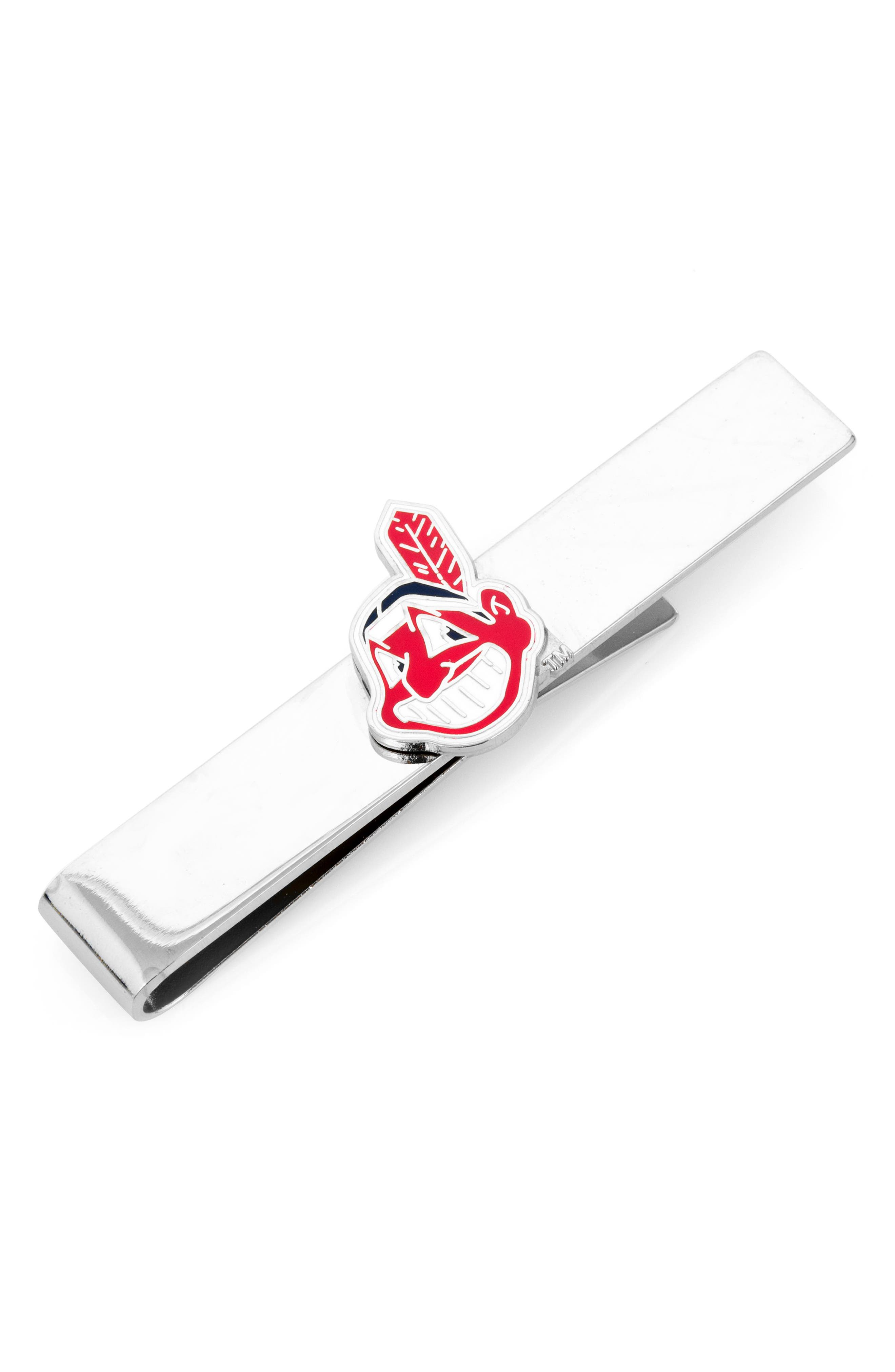 Cleveland Indians Tie Bar,                             Main thumbnail 1, color,                             RED/ SILVER