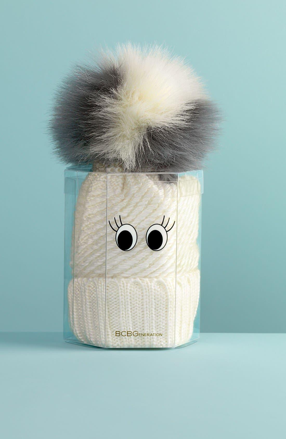 Faux Fur Pompom Knit Beanie,                             Main thumbnail 1, color,                             020