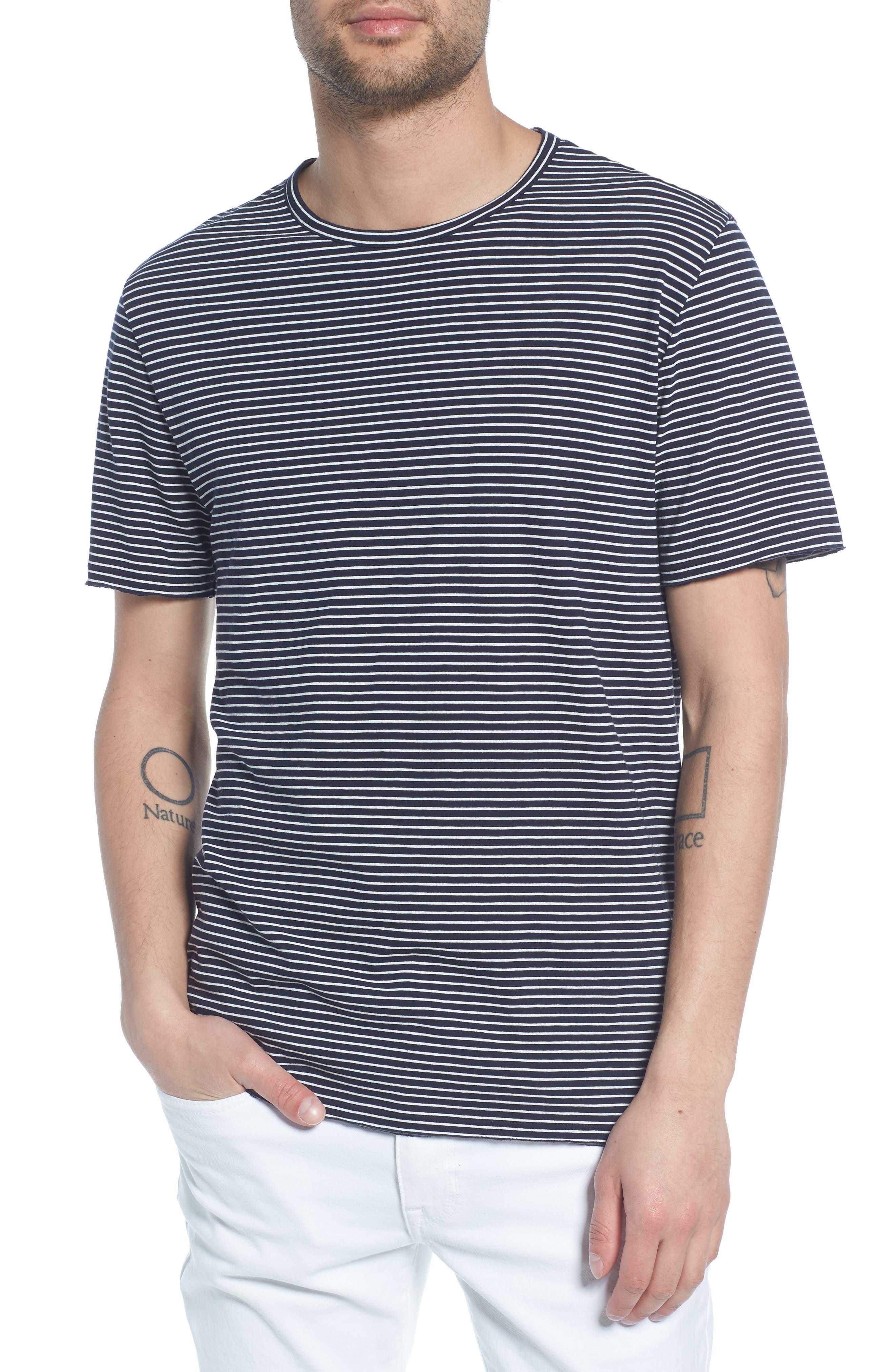 Stripe Crewneck T-Shirt,                             Main thumbnail 1, color,                             NEW COASTAL/ LECHE