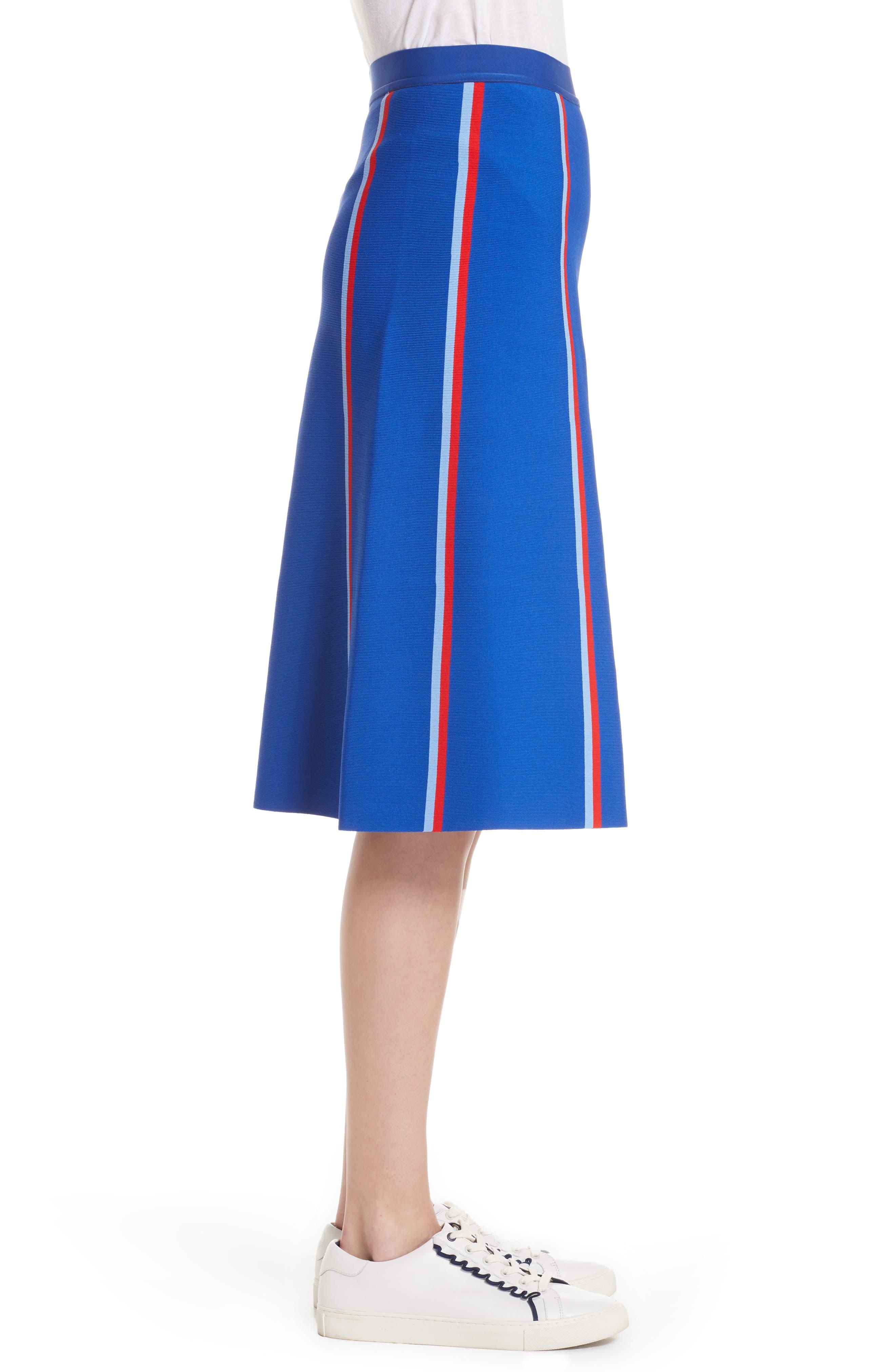 Twin Stripe Tech Knit Skirt,                             Alternate thumbnail 3, color,                             SLALOM BLUE