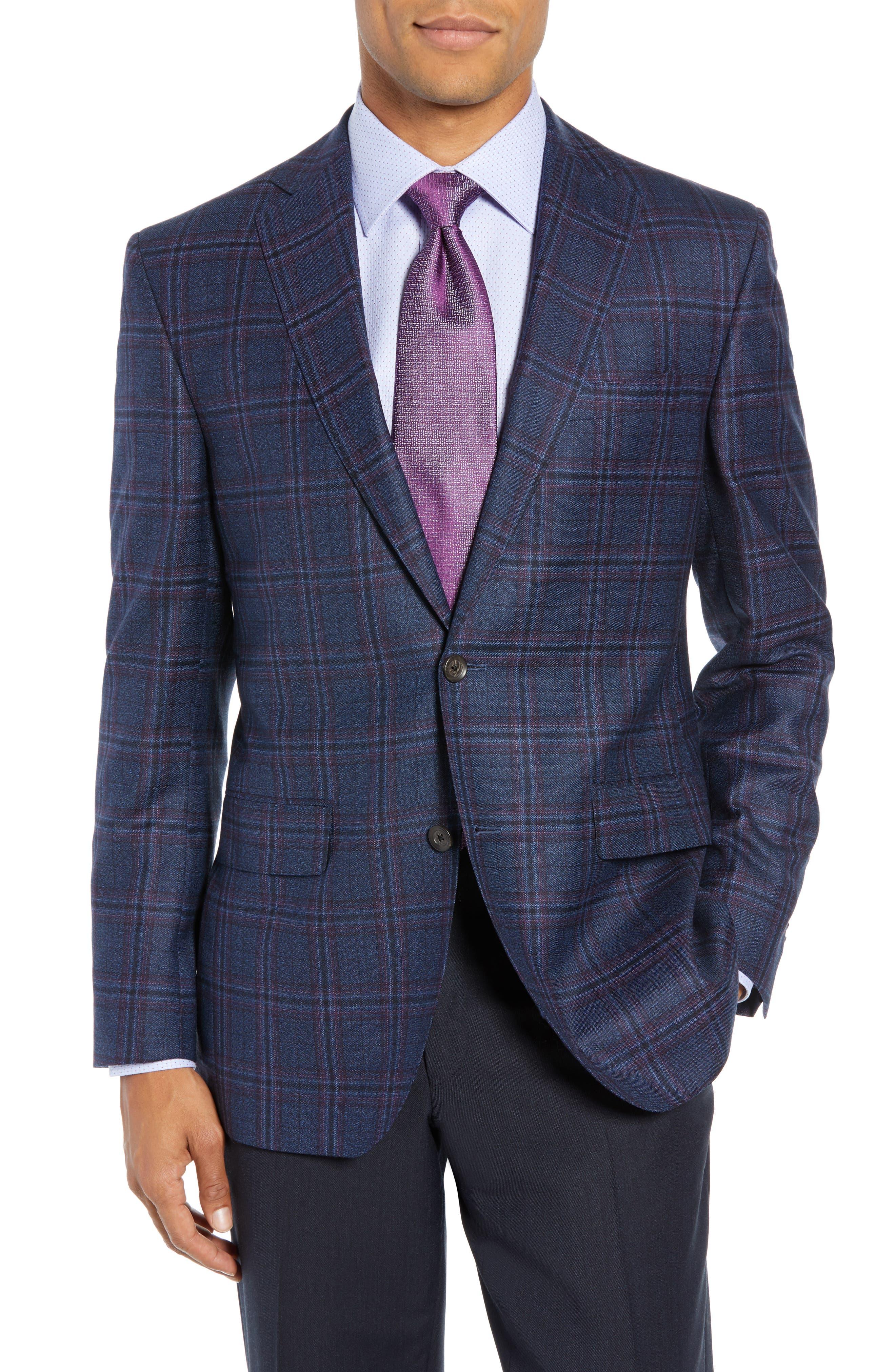 Connor Classic Fit Plaid Wool Sport Coat,                             Main thumbnail 1, color,                             400