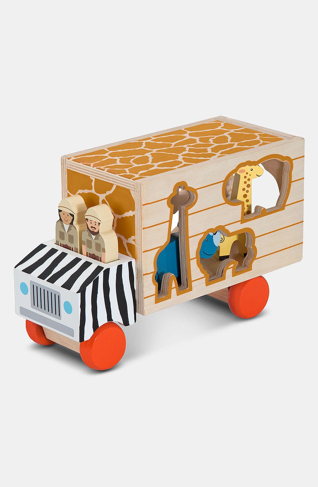 'Animal Rescue' Shape Sorting Wooden Truck Toy,                         Main,                         color, BROWN