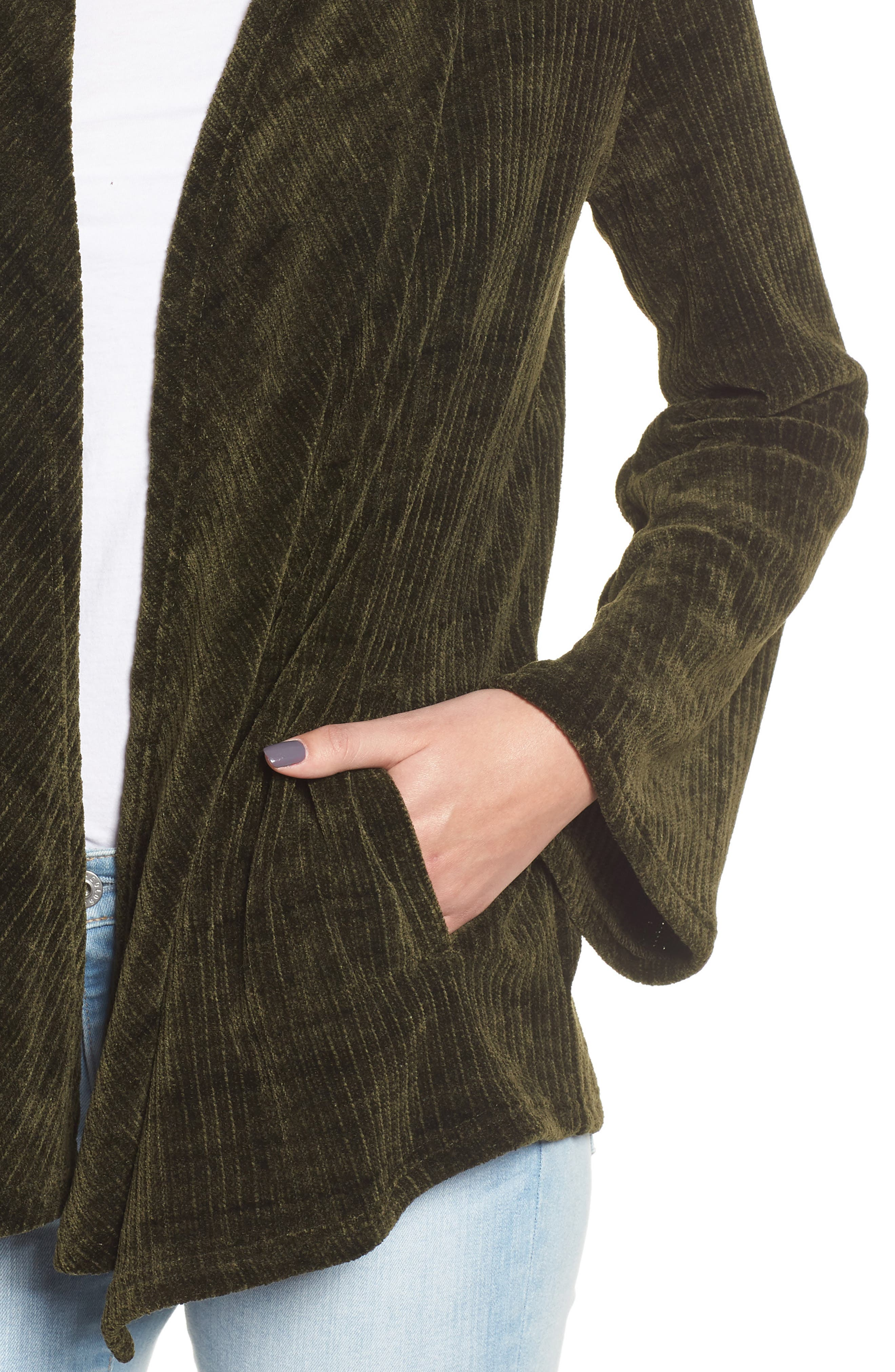 Chenille of Fortune Jacket,                             Alternate thumbnail 4, color,                             DARK GREEN