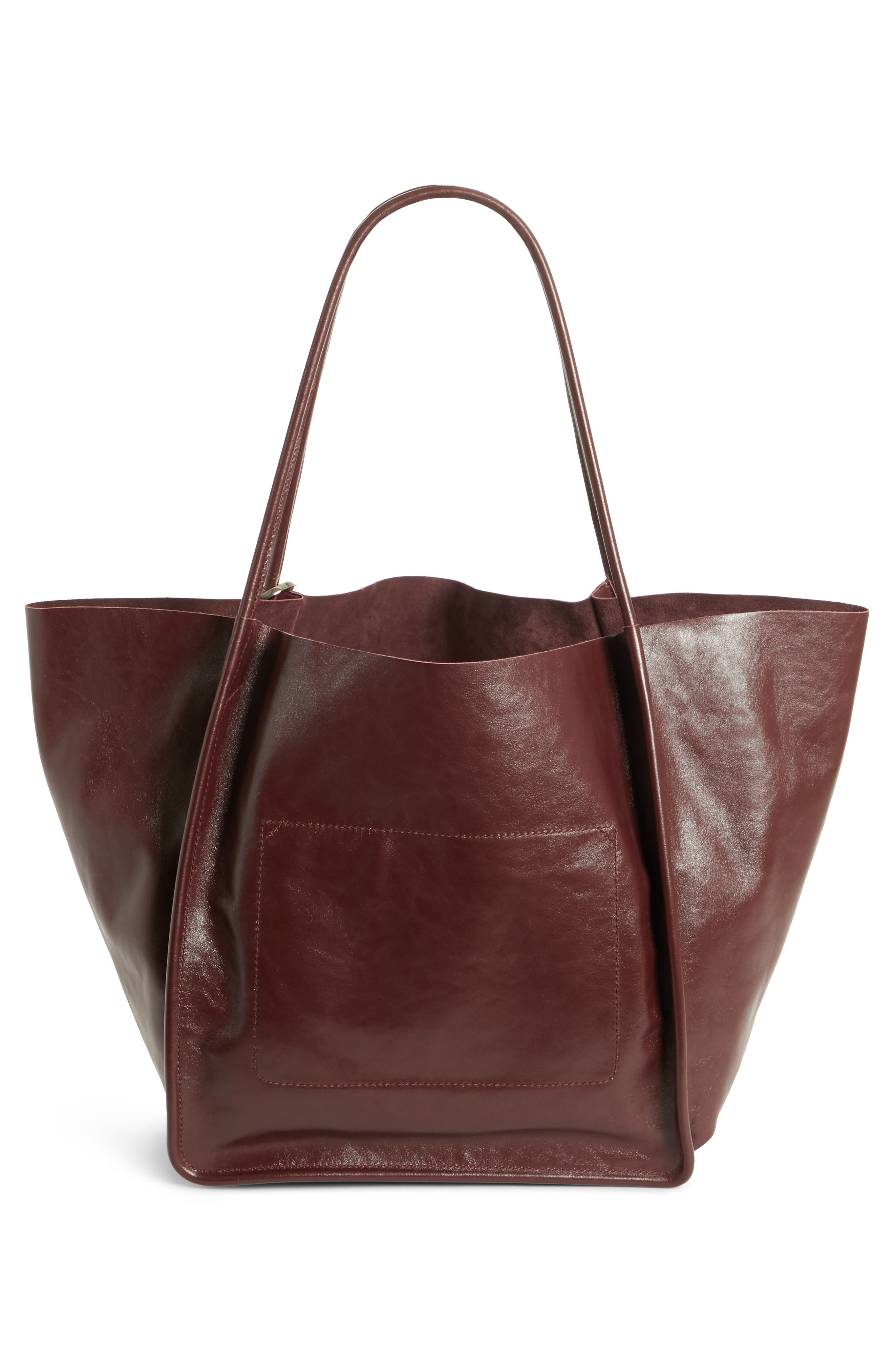 Extra Large Leather Tote,                             Alternate thumbnail 2, color,                             CORDOVAN