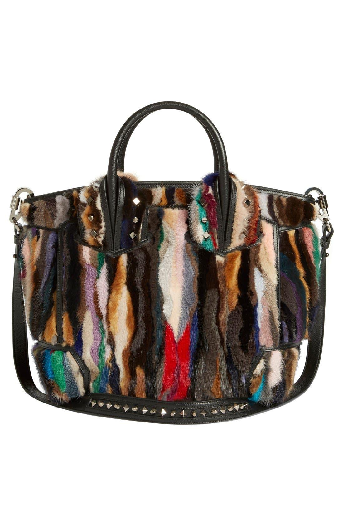 CHRISTIAN LOUBOUTIN,                             'Large Eloise' Studded Leather & Genuine Mink Fur Satchel,                             Alternate thumbnail 4, color,                             002