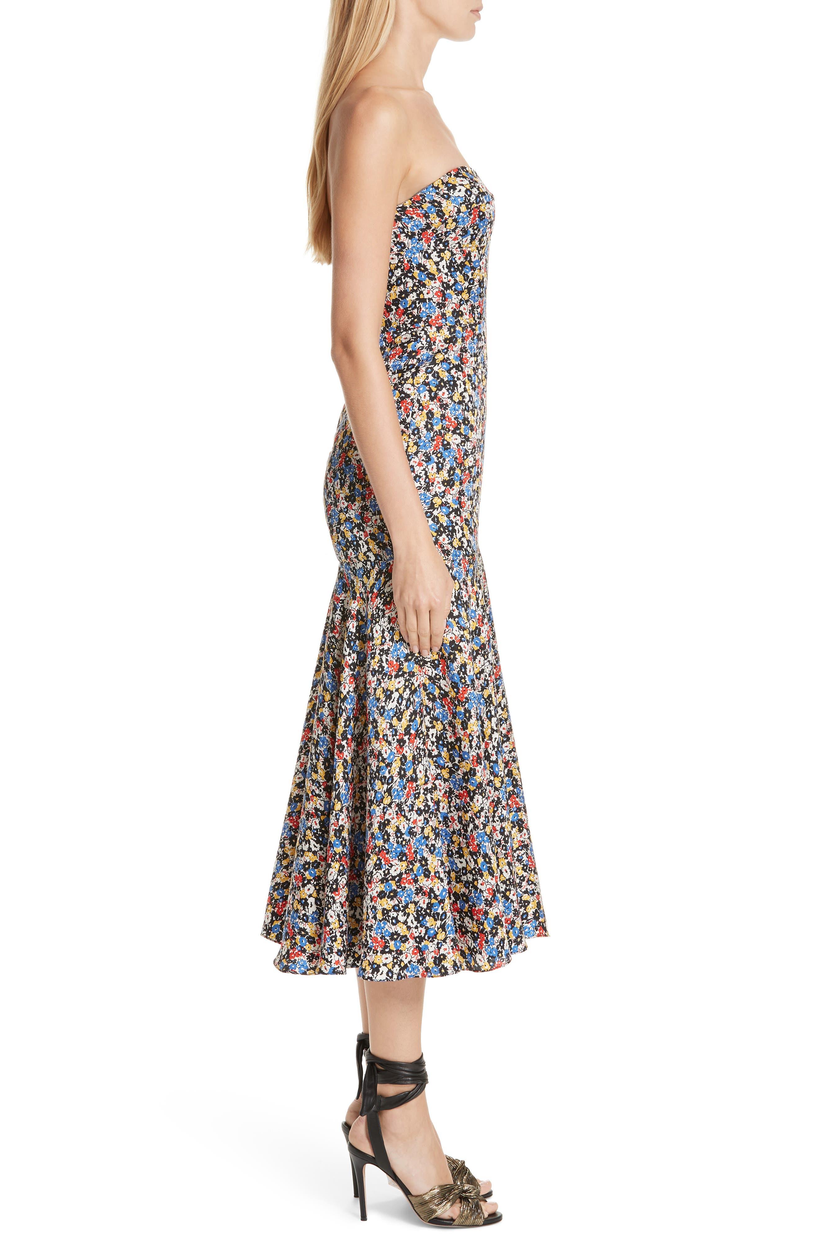 Annika Floral Print Strapless Stretch Silk Dress,                             Alternate thumbnail 3, color,                             966