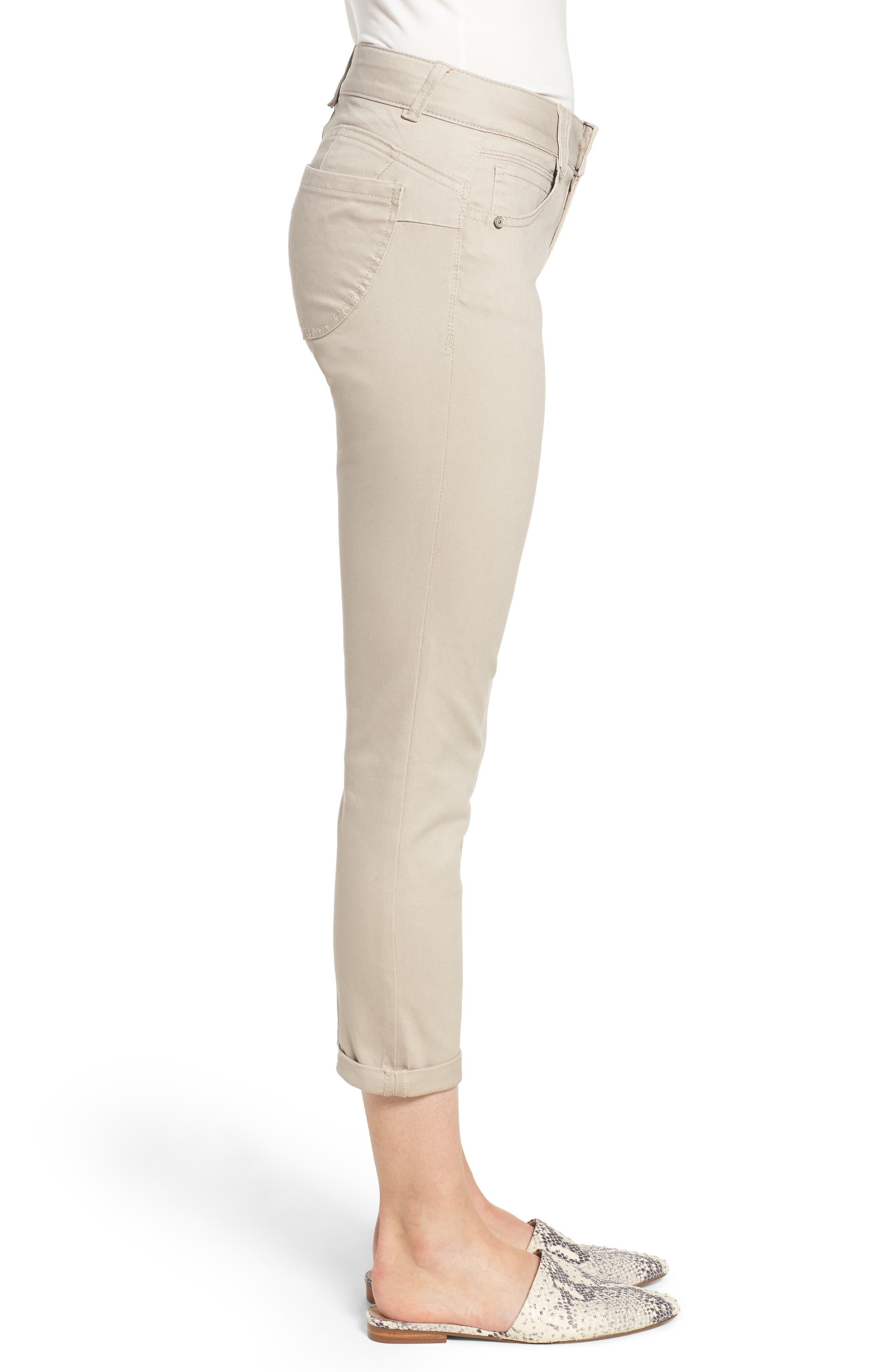 WIT & WISDOM,                             Ab-Solution Crop Skinny Pants,                             Alternate thumbnail 4, color,                             FLAX