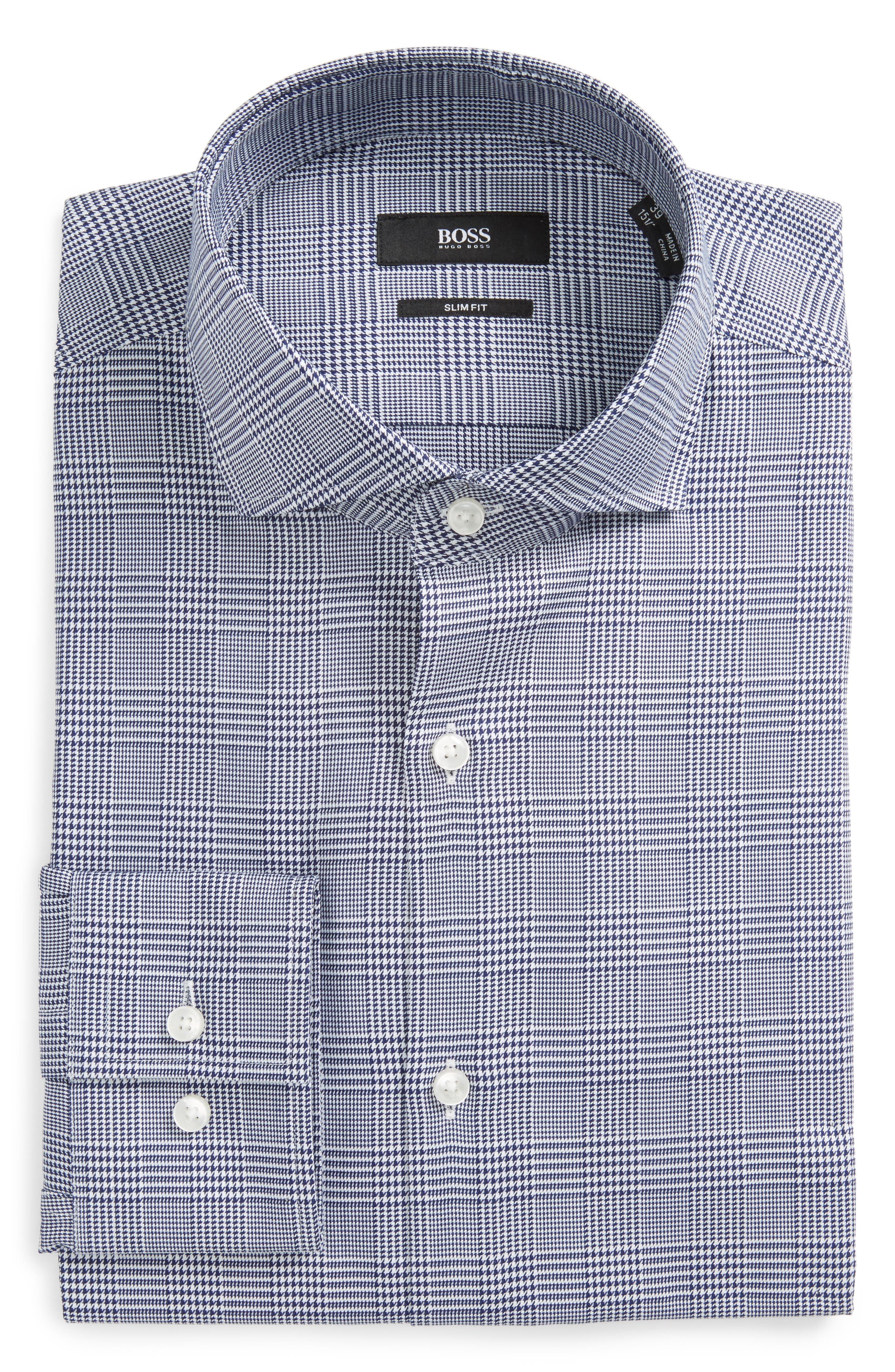 Slim Fit Plaid Dress Shirt,                         Main,                         color, 412