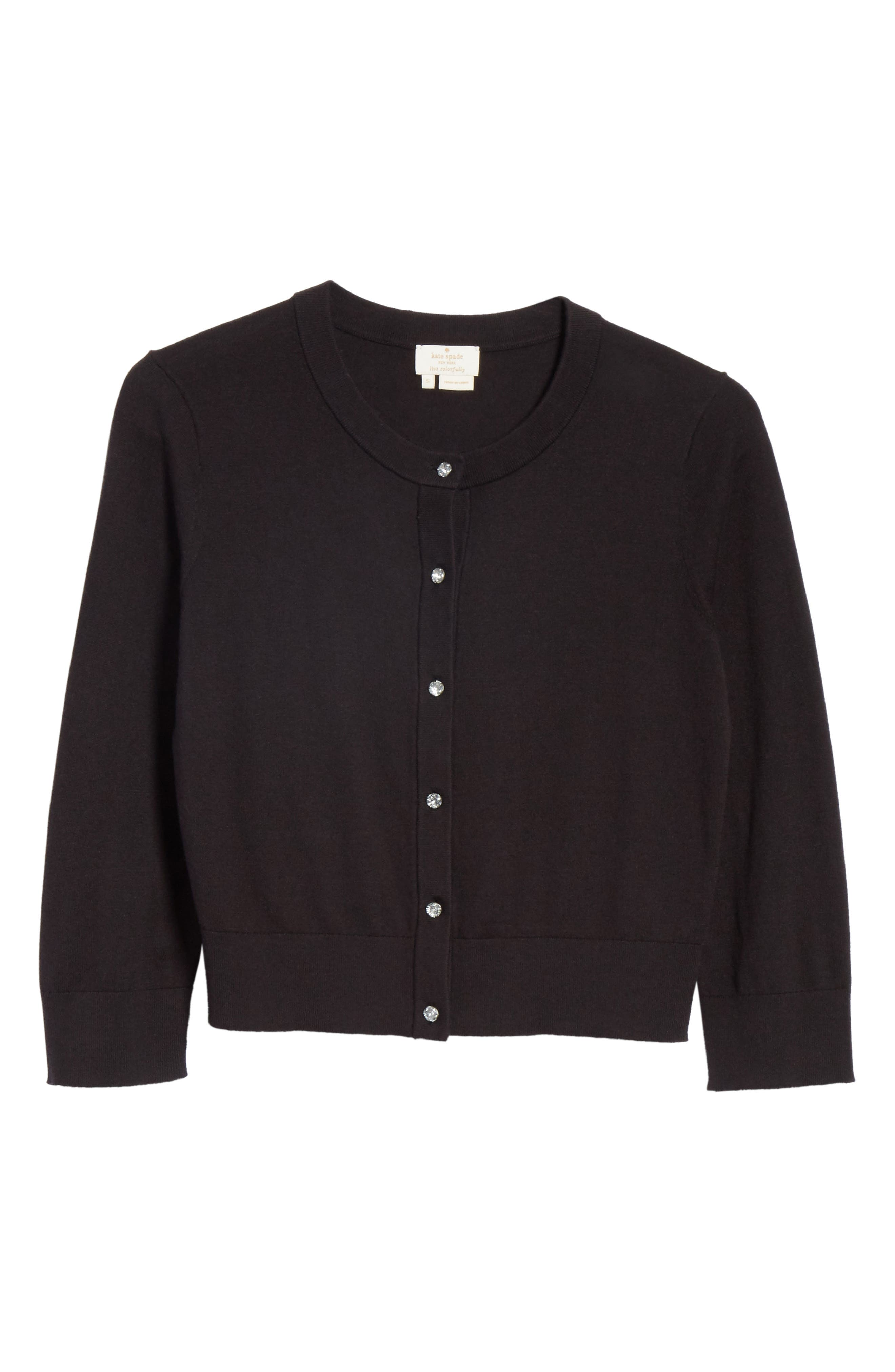 jewel button crop cardigan,                             Alternate thumbnail 6, color,                             BLACK