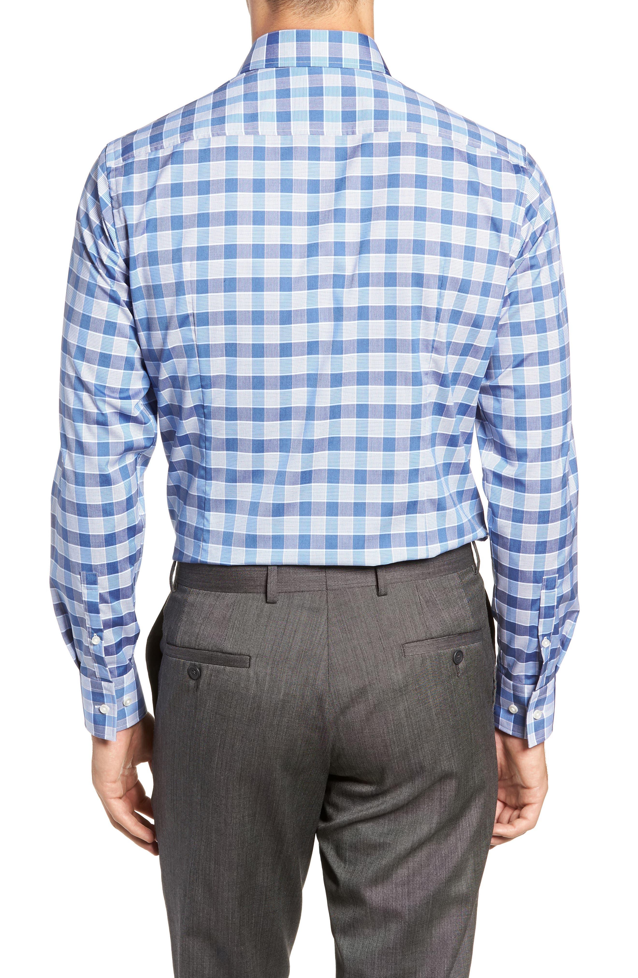 Jason Slim Fit Plaid Dress Shirt,                             Alternate thumbnail 3, color,                             BLUE