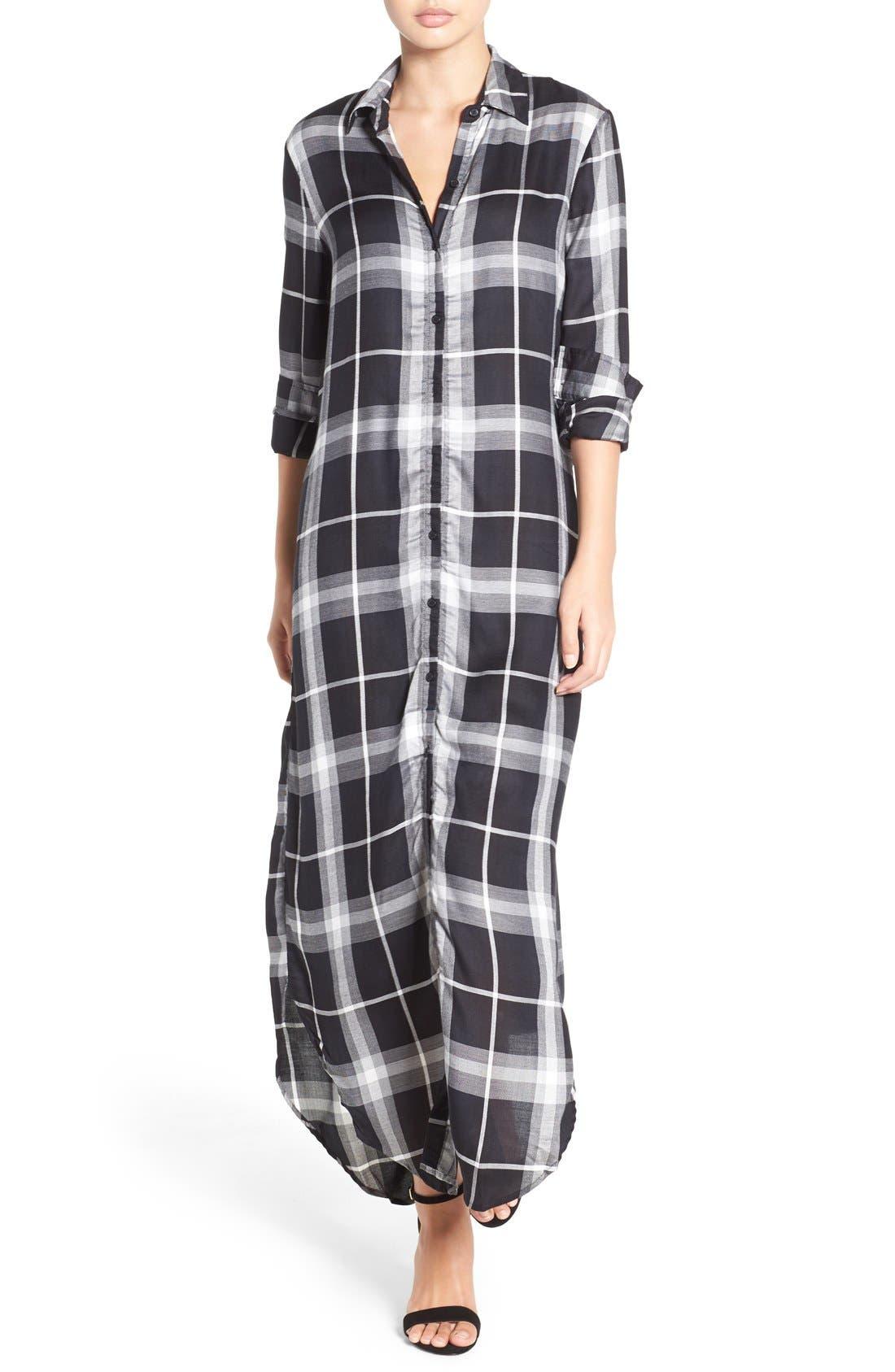 'Coley' Plaid Maxi Shirtdress,                         Main,                         color, 001