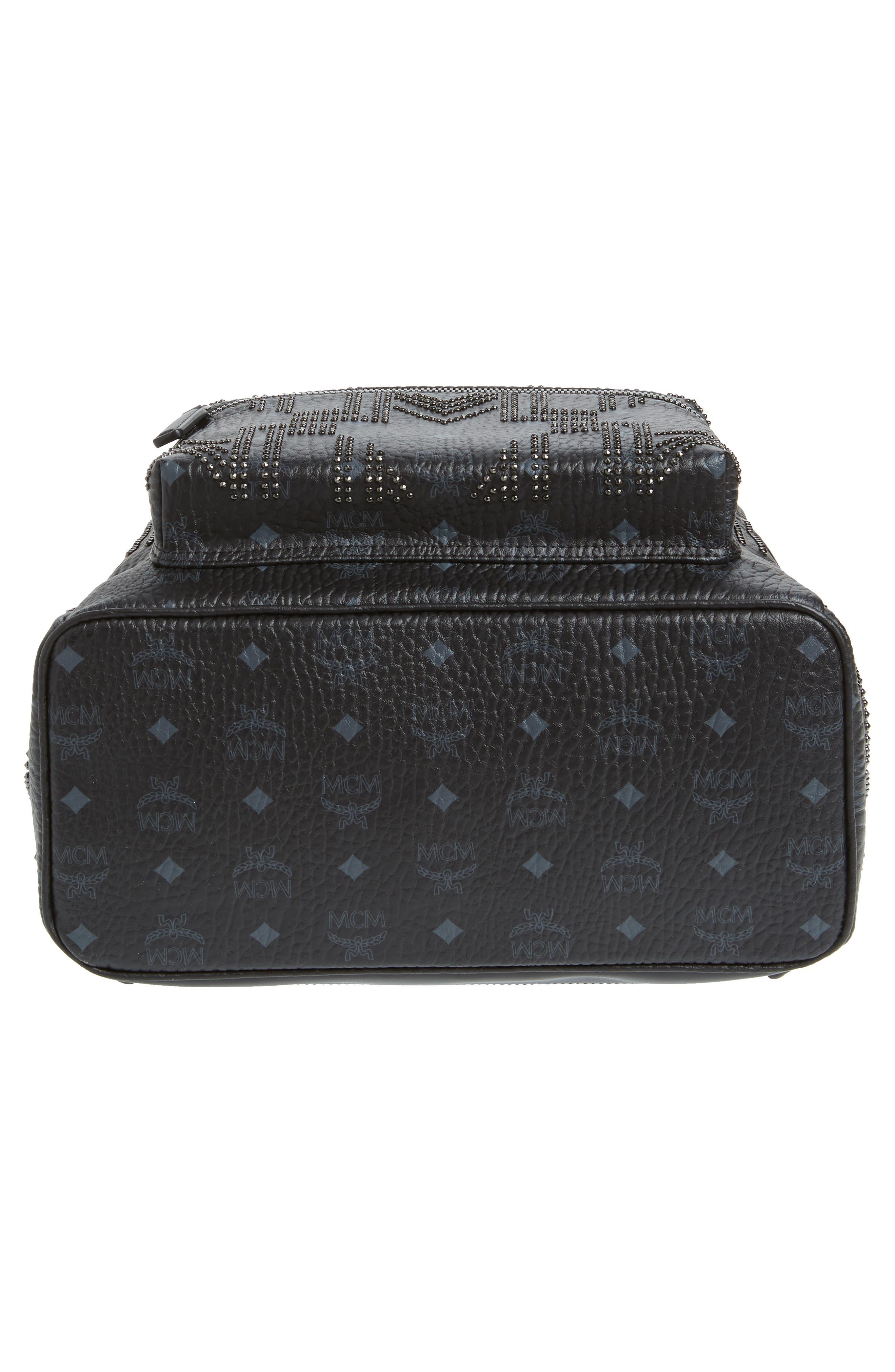 Stark Stud Faux Leather Backpack,                             Alternate thumbnail 6, color,                             BLACK