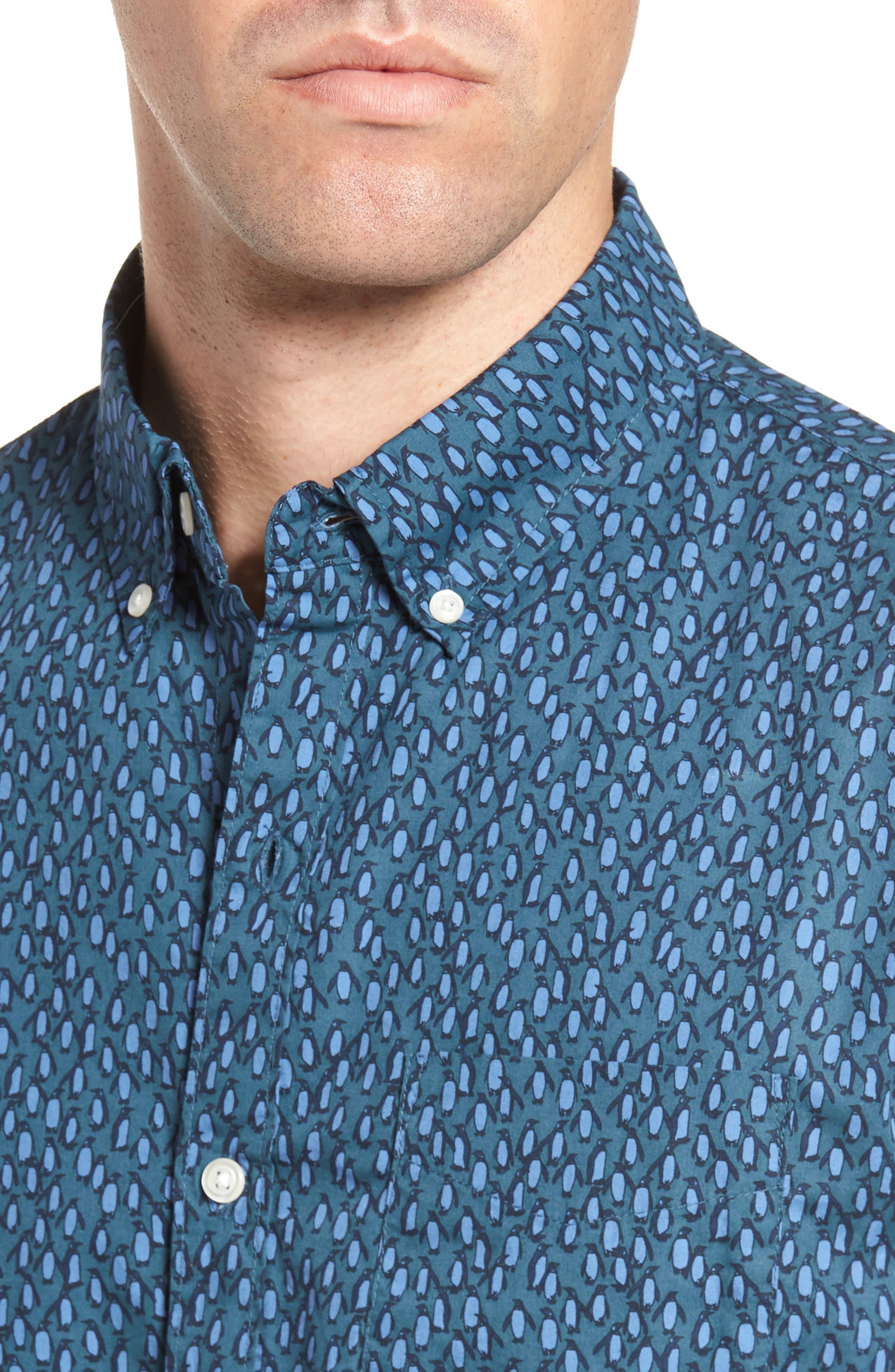Slim Fit Washed Penguin Print Sport Shirt,                             Alternate thumbnail 4, color,