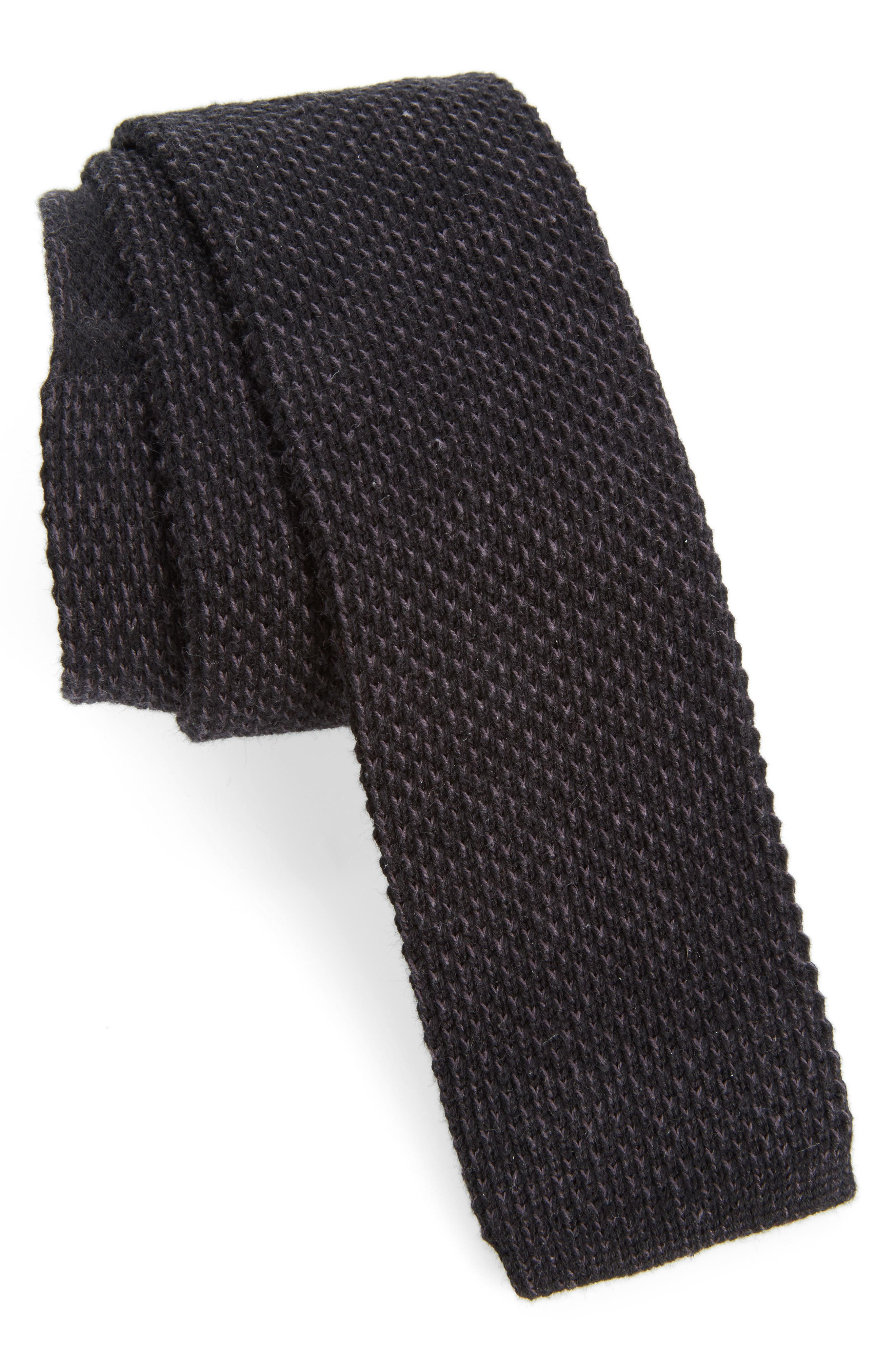 Edwardian Men's Fashion & Clothing Mens Nordstrom Mens Shop Skinny Knit Cotton Tie Size Regular - Black $25.00 AT vintagedancer.com