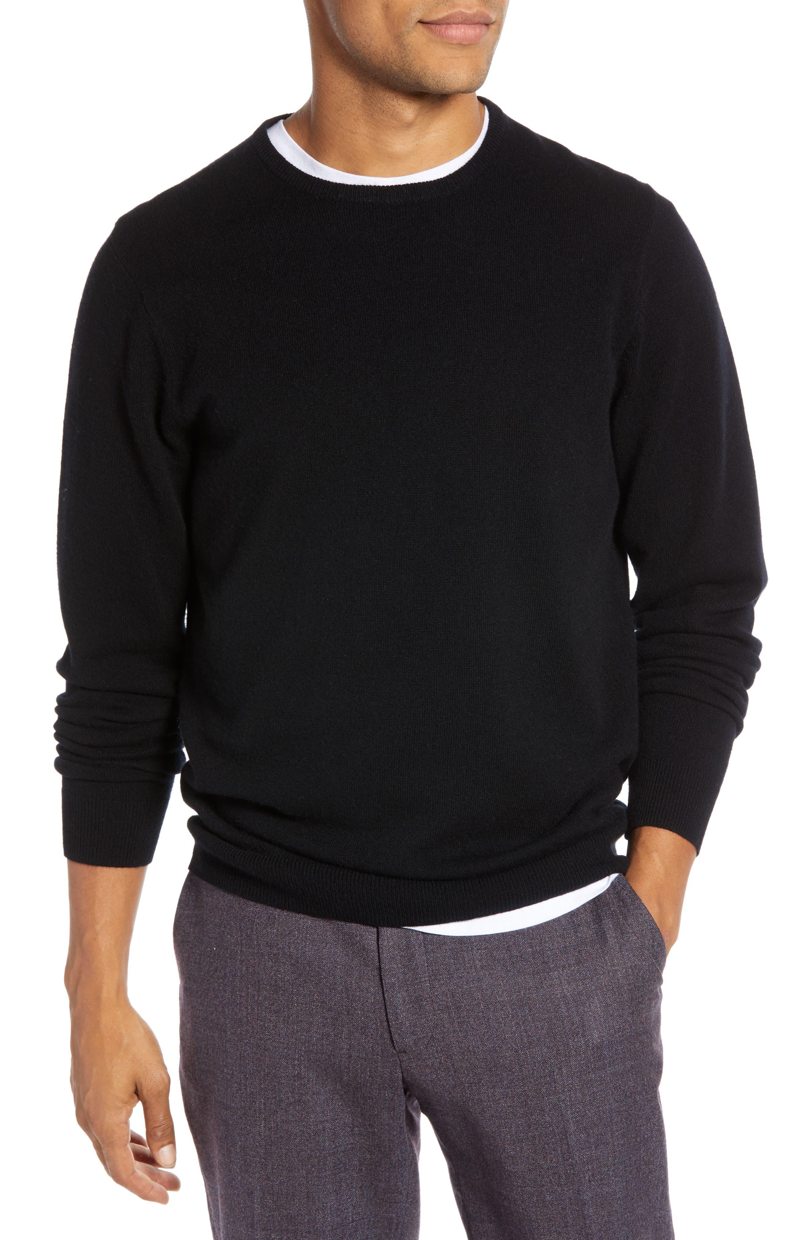 Regular Fit Wool & Cashmere Sweater,                         Main,                         color, BLACK CAVIAR