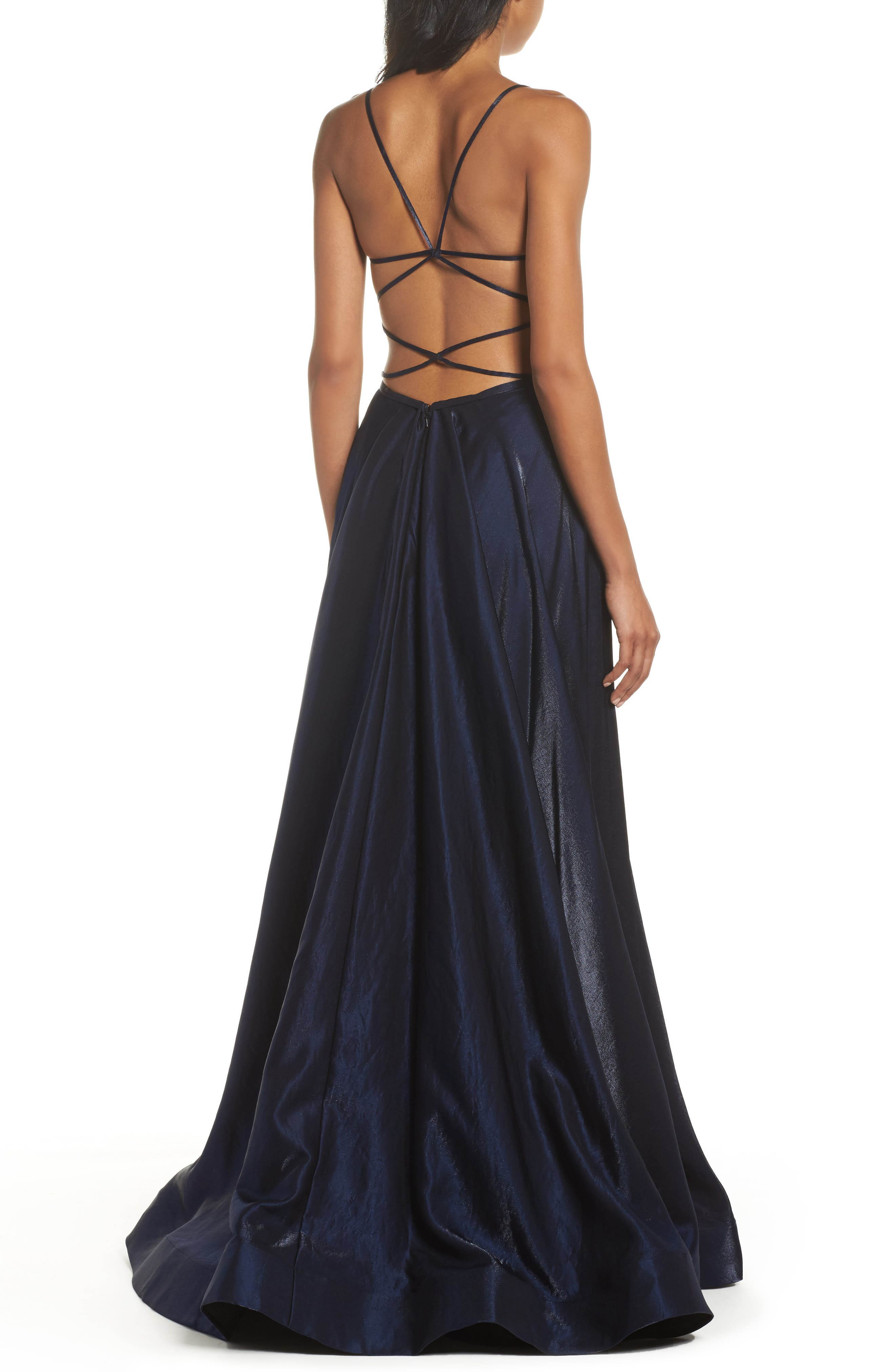 Plunging Satin A-Line Gown,                             Alternate thumbnail 2, color,                             410