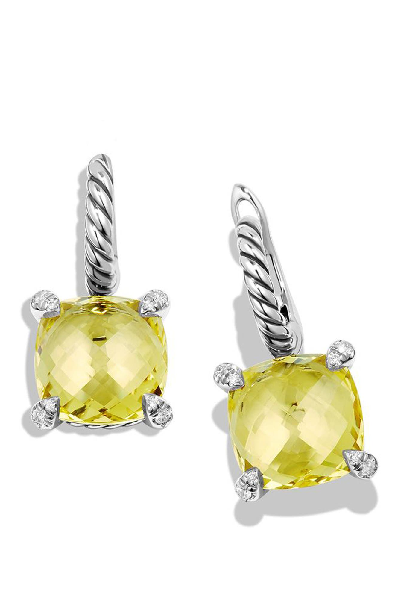 'Châtelaine' Drop Earrings with Semiprecious Stones and Diamonds,                             Alternate thumbnail 4, color,                             001
