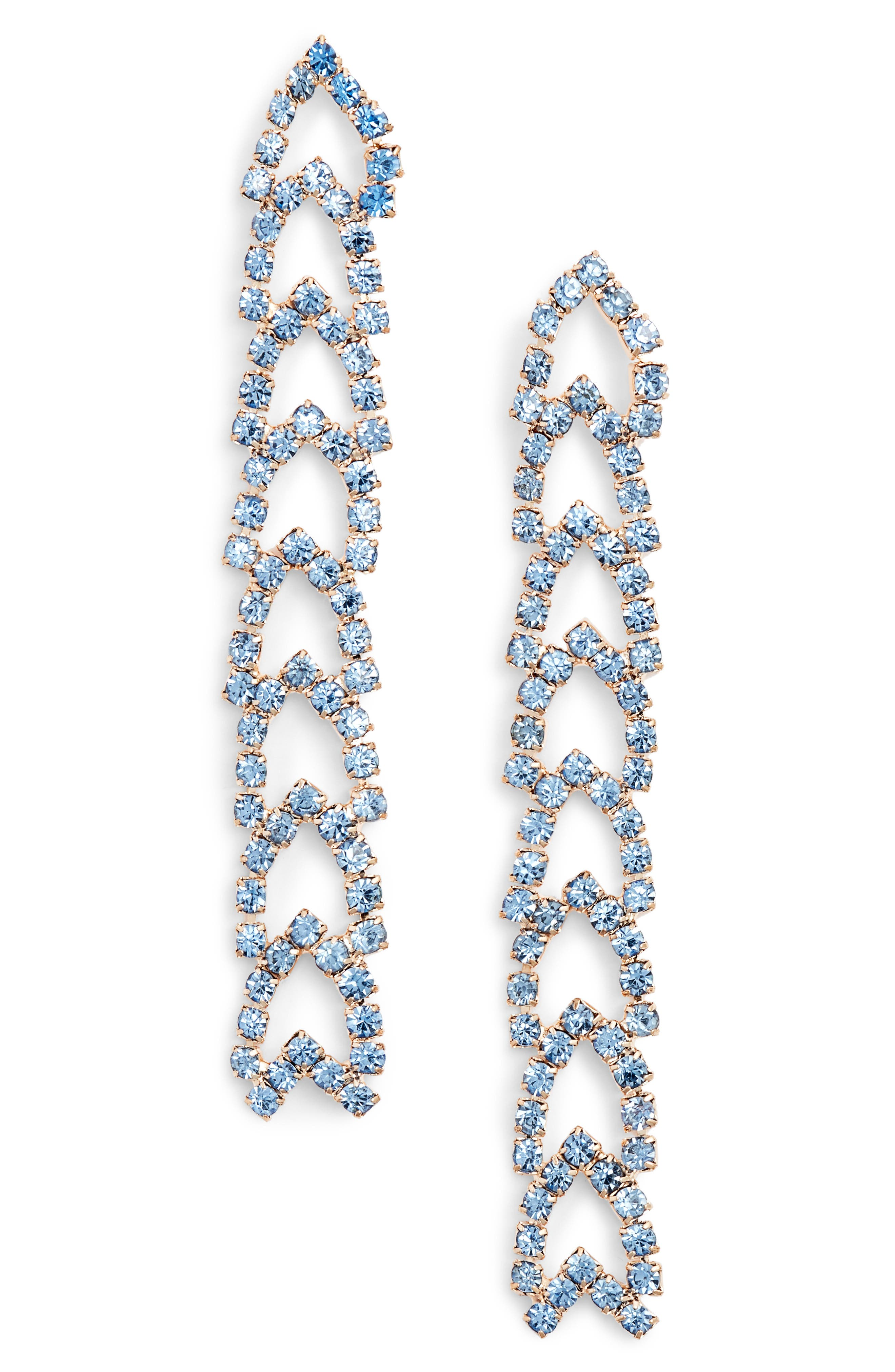 Crystal Drop Earrings,                         Main,                         color, SAPPHIRE