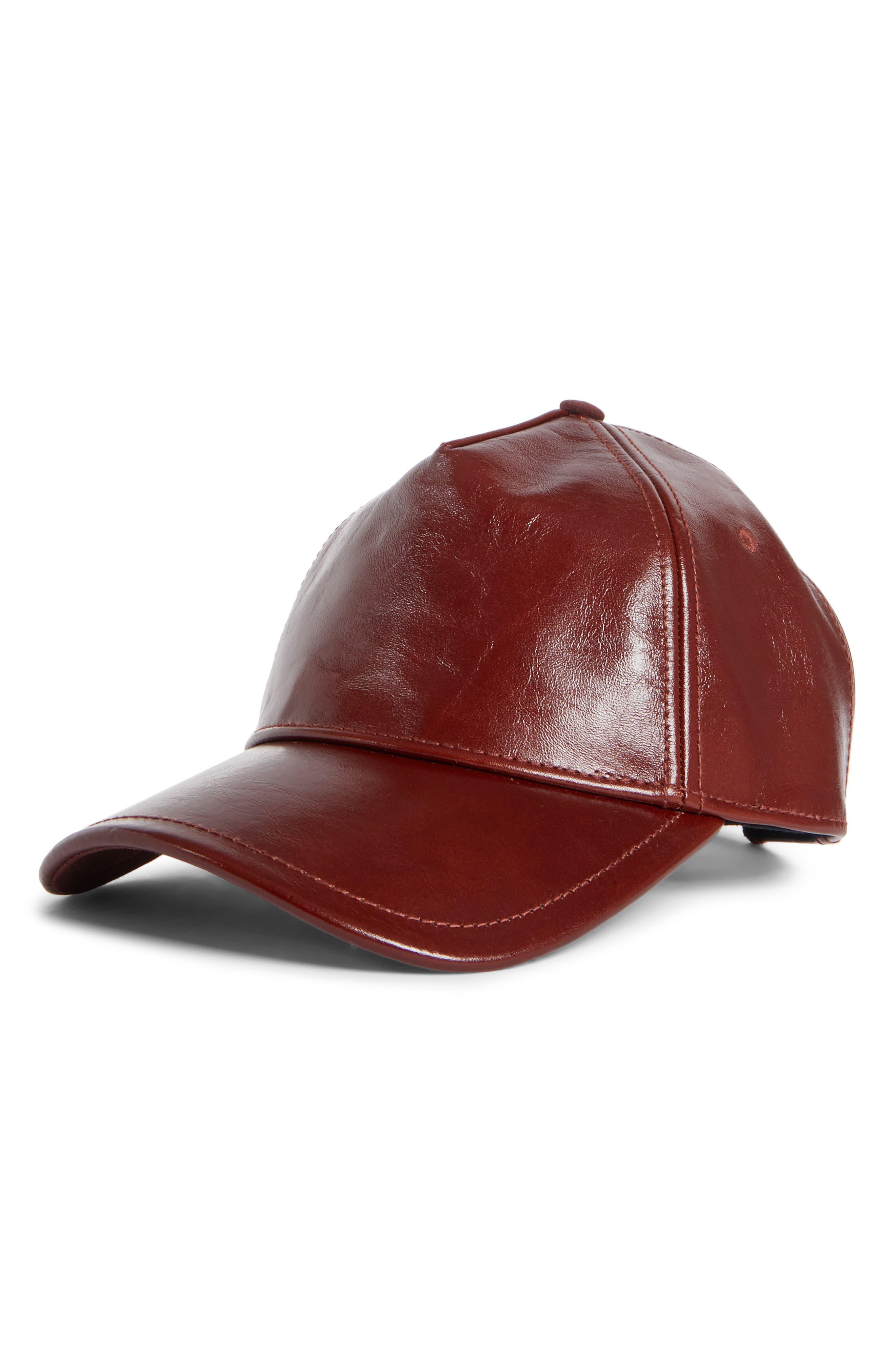 Marilyn Leather Baseball Cap,                             Main thumbnail 1, color,                             DARK BROWN
