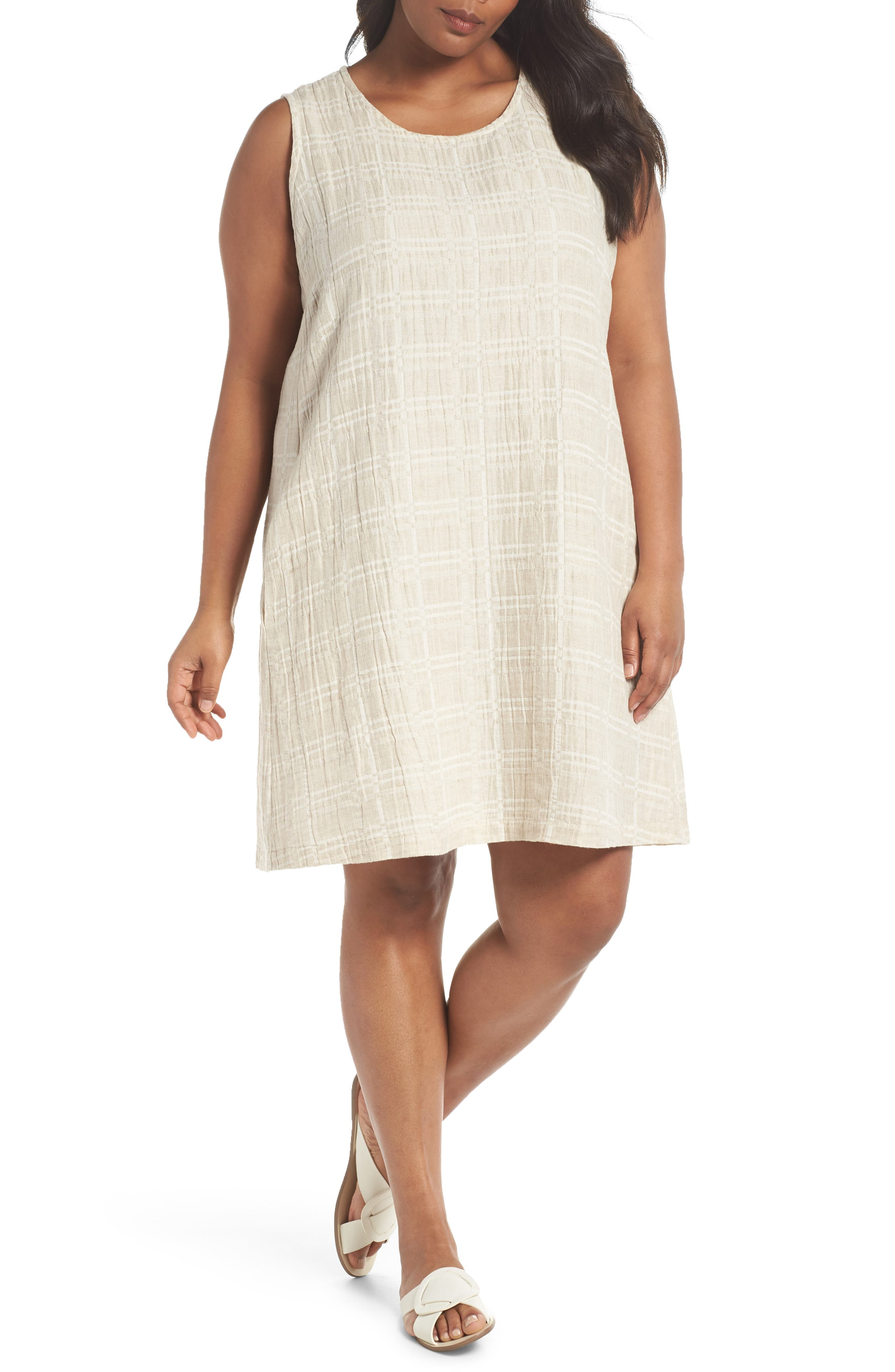 Organic Cotton & Linen Shift Dress,                         Main,                         color, NATURAL