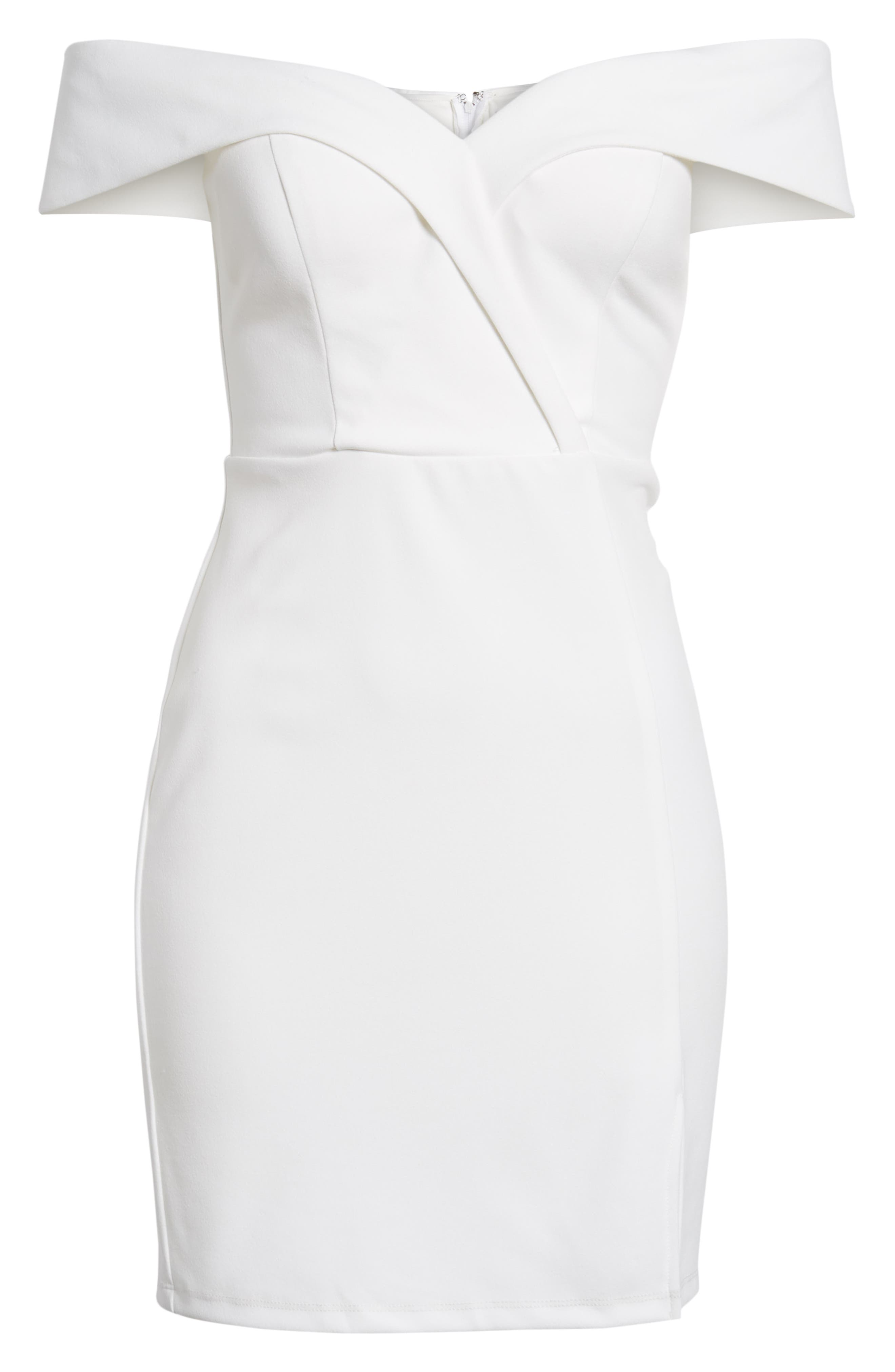 Off the Shoulder Body-Con Dress,                             Alternate thumbnail 7, color,                             IVORY
