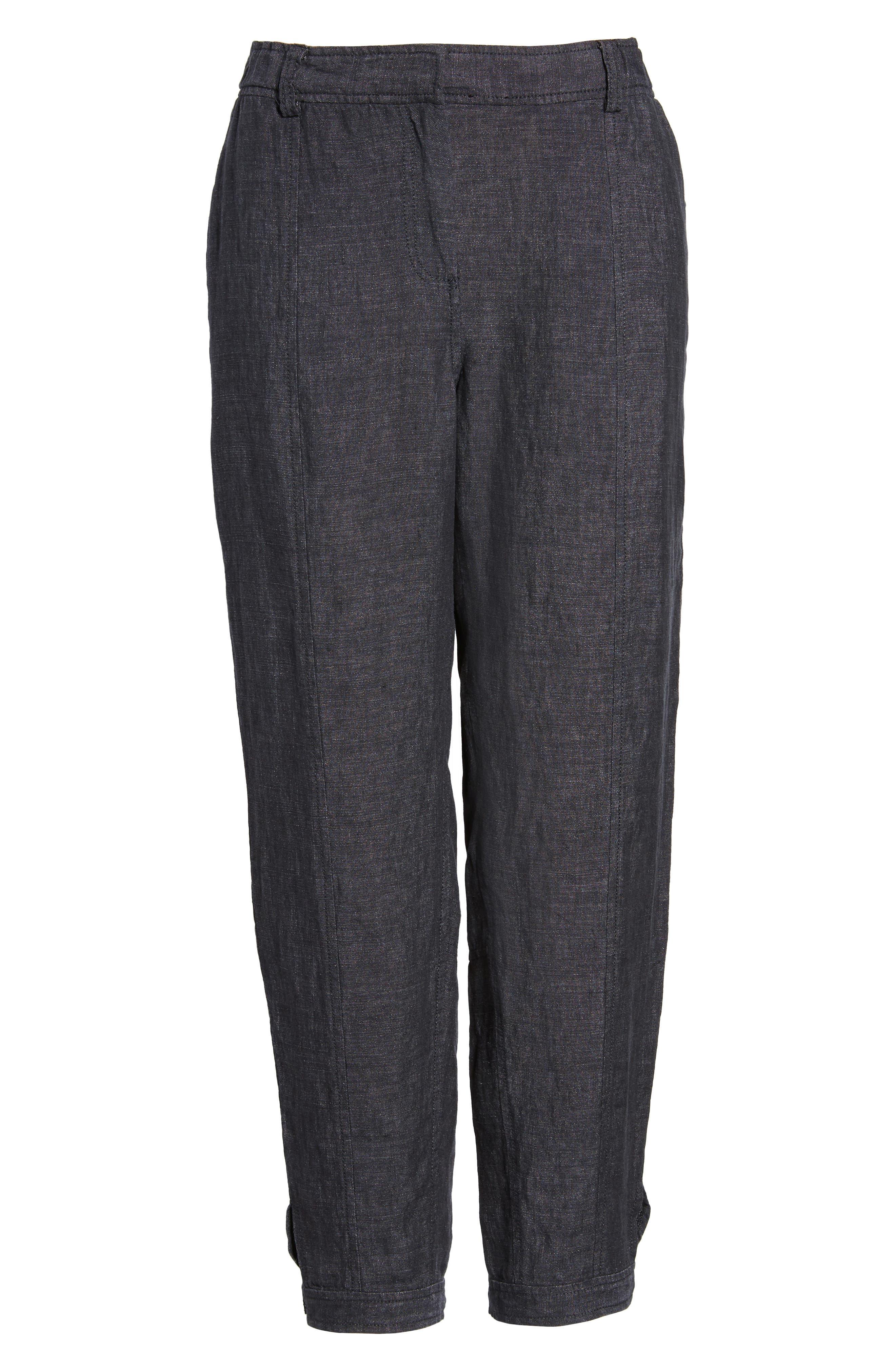 Easy Ankle Organic Linen Pants,                             Alternate thumbnail 7, color,                             080