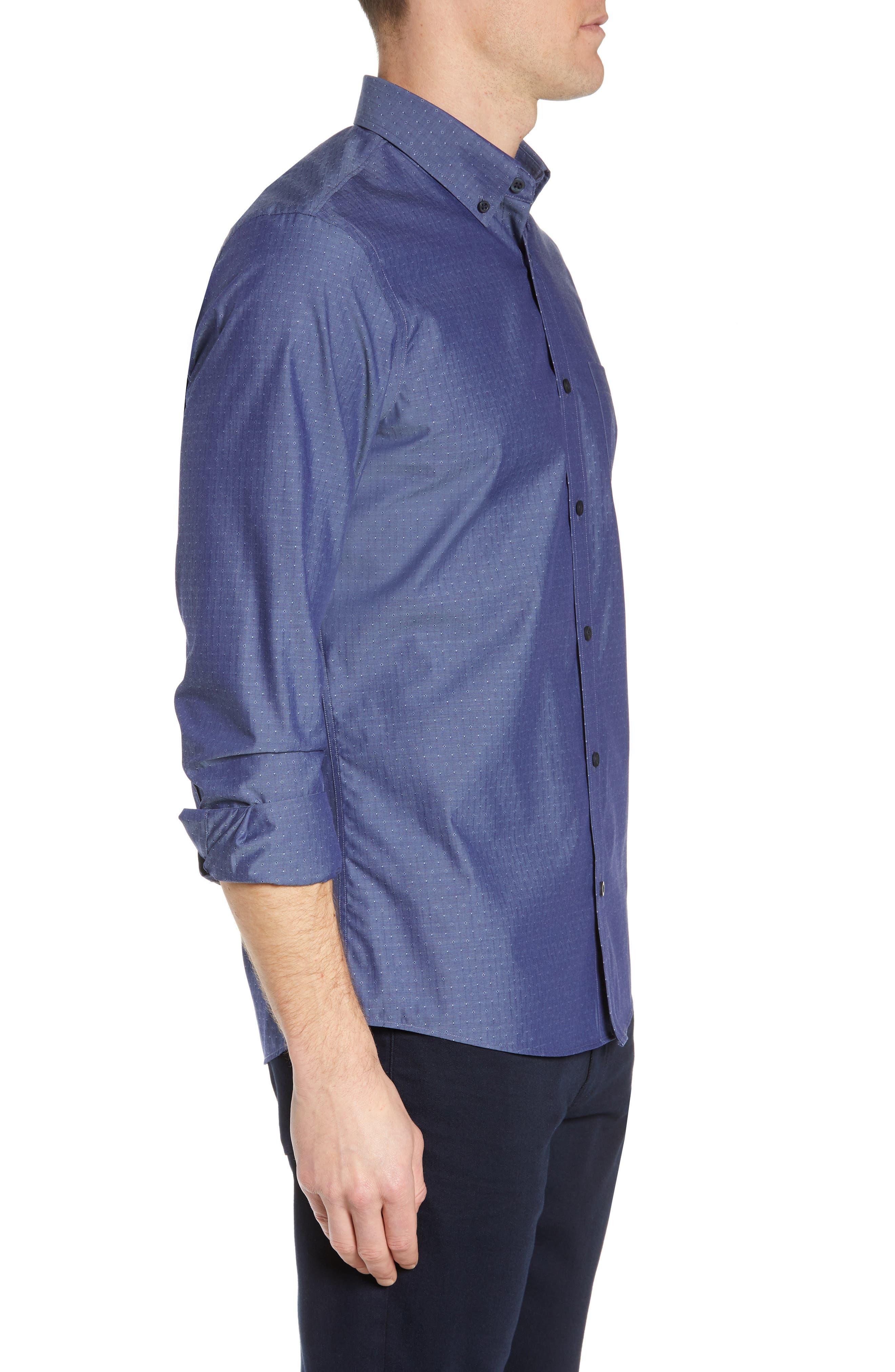 NORDSTROM MEN'S SHOP,                             Regular Fit Non-Iron Dobby Sport Shirt,                             Alternate thumbnail 2, color,                             NAVY PEACOAT DIAMOND DOBBY