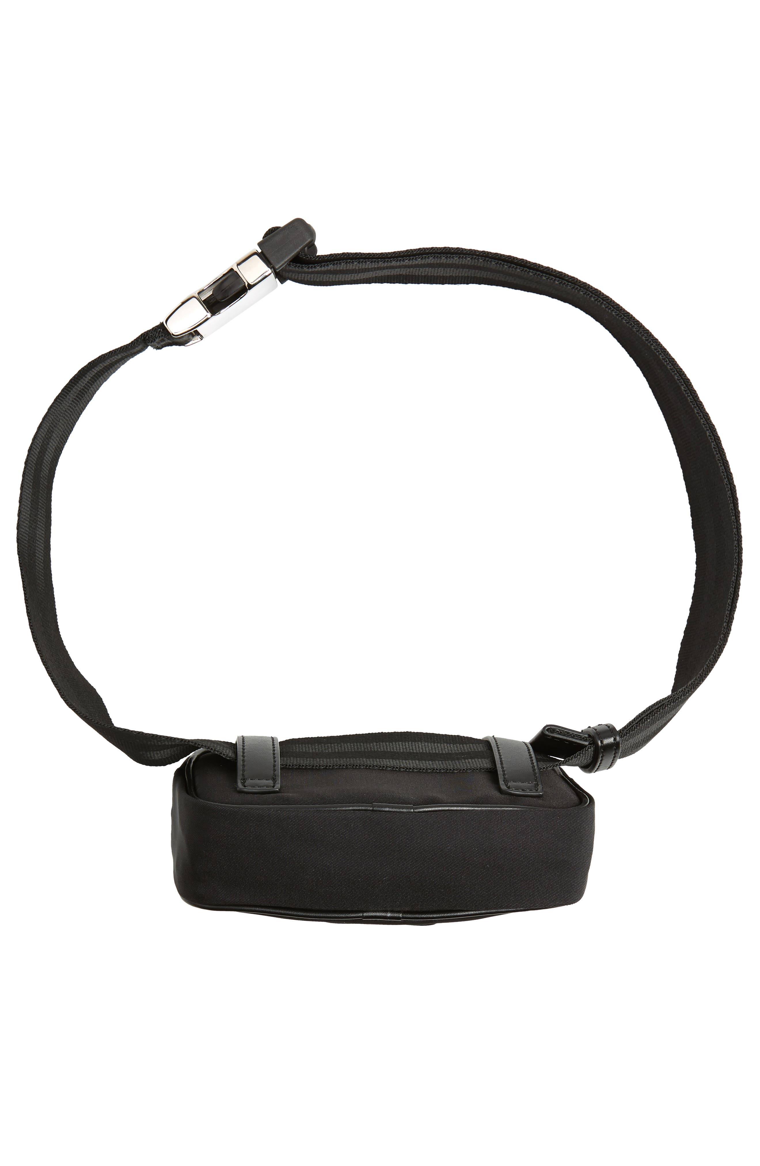 Nylon Convertible Belt Bag,                             Alternate thumbnail 7, color,                             BLACK/ SILVER