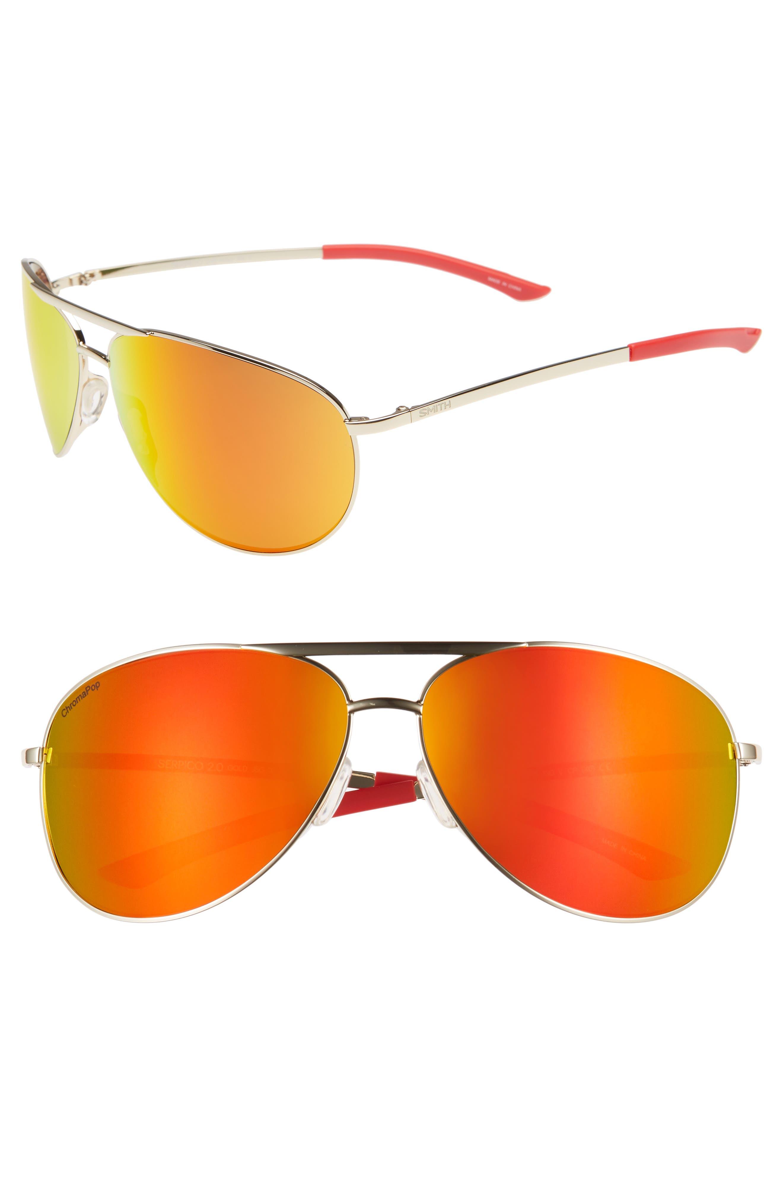Serpico 2 65mm Mirrored ChromaPop<sup>™</sup> Aviator Sunglasses,                             Main thumbnail 1, color,                             GOLD/ RED
