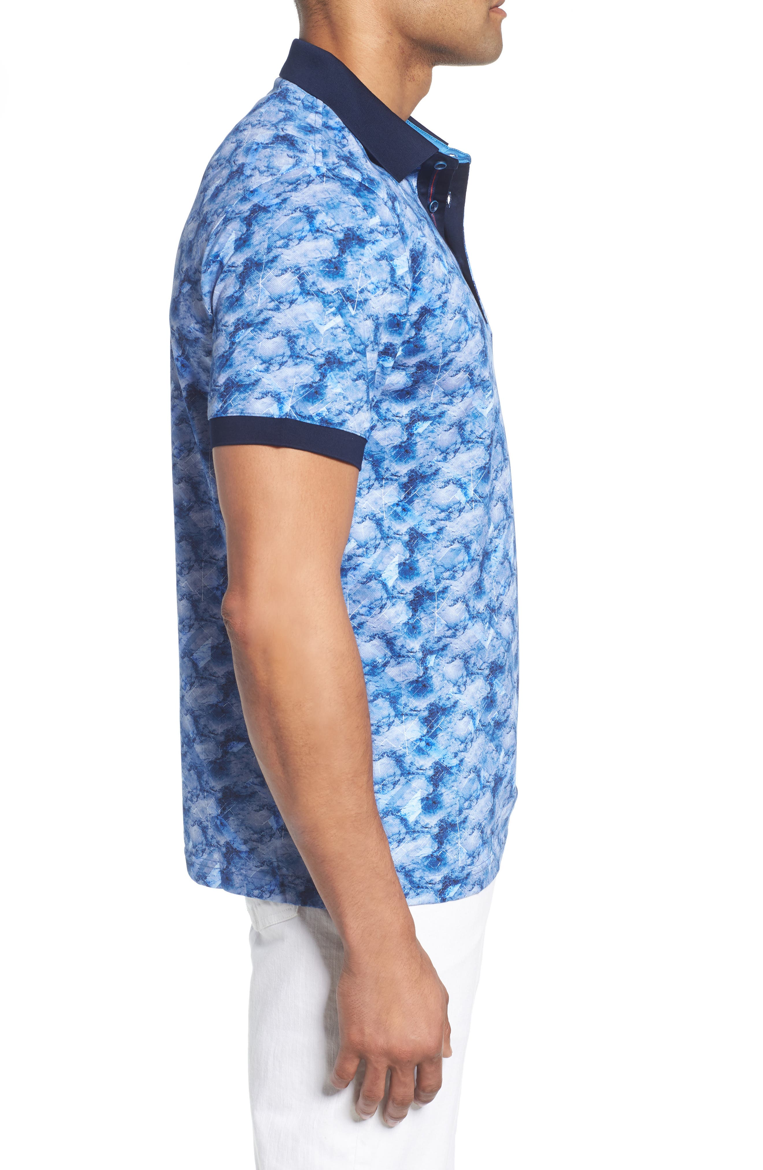 Abstract Print Piqué Polo,                             Alternate thumbnail 3, color,                             CLASSIC BLUE