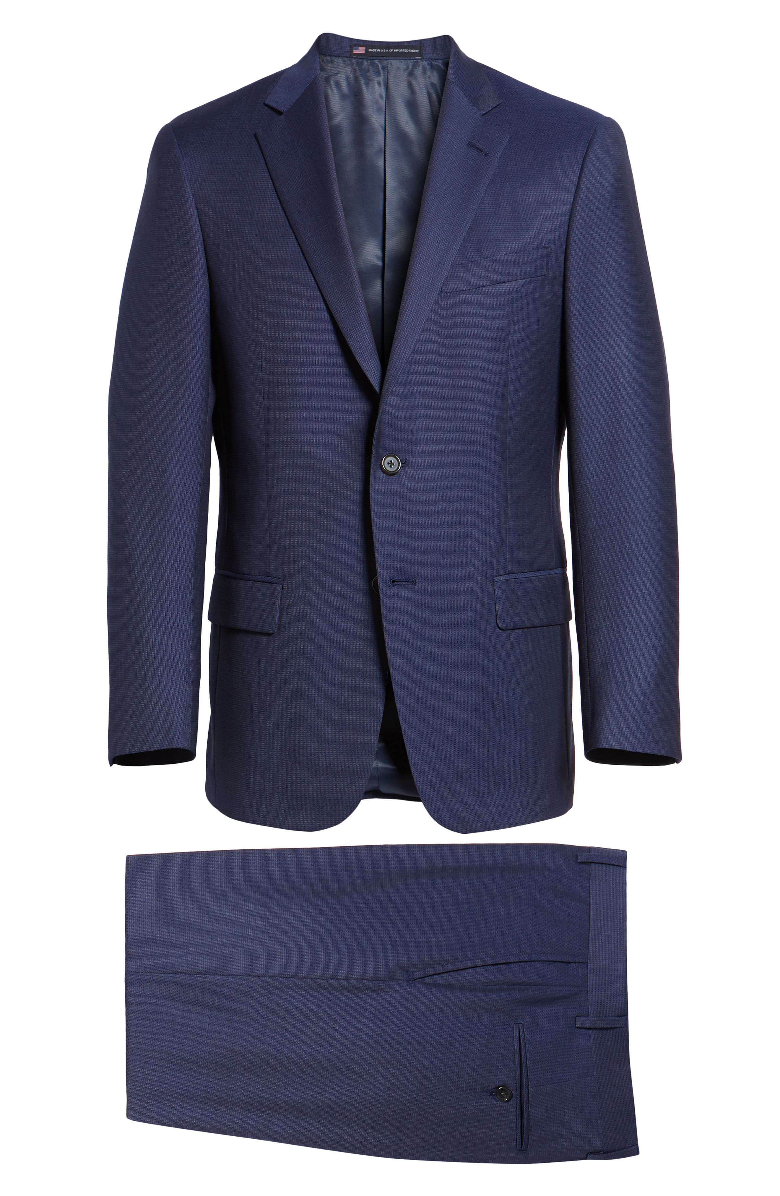 New York Classic Fit Check Wool Suit,                             Alternate thumbnail 8, color,                             MED BLUE