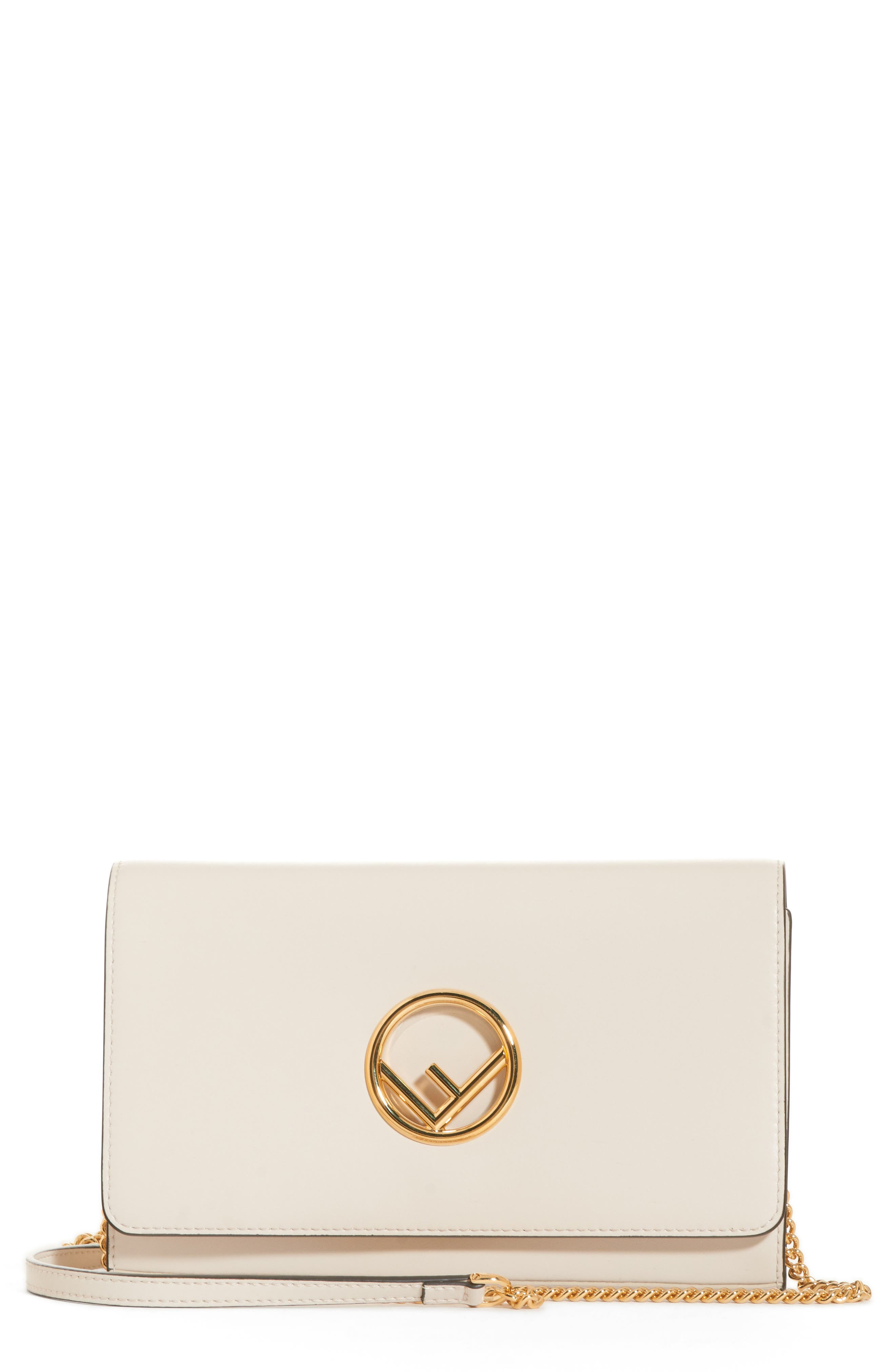 Liberty Logo Calfskin Leather Wallet on a Chain,                             Main thumbnail 1, color,                             CAMELIA/ ORO SOFT
