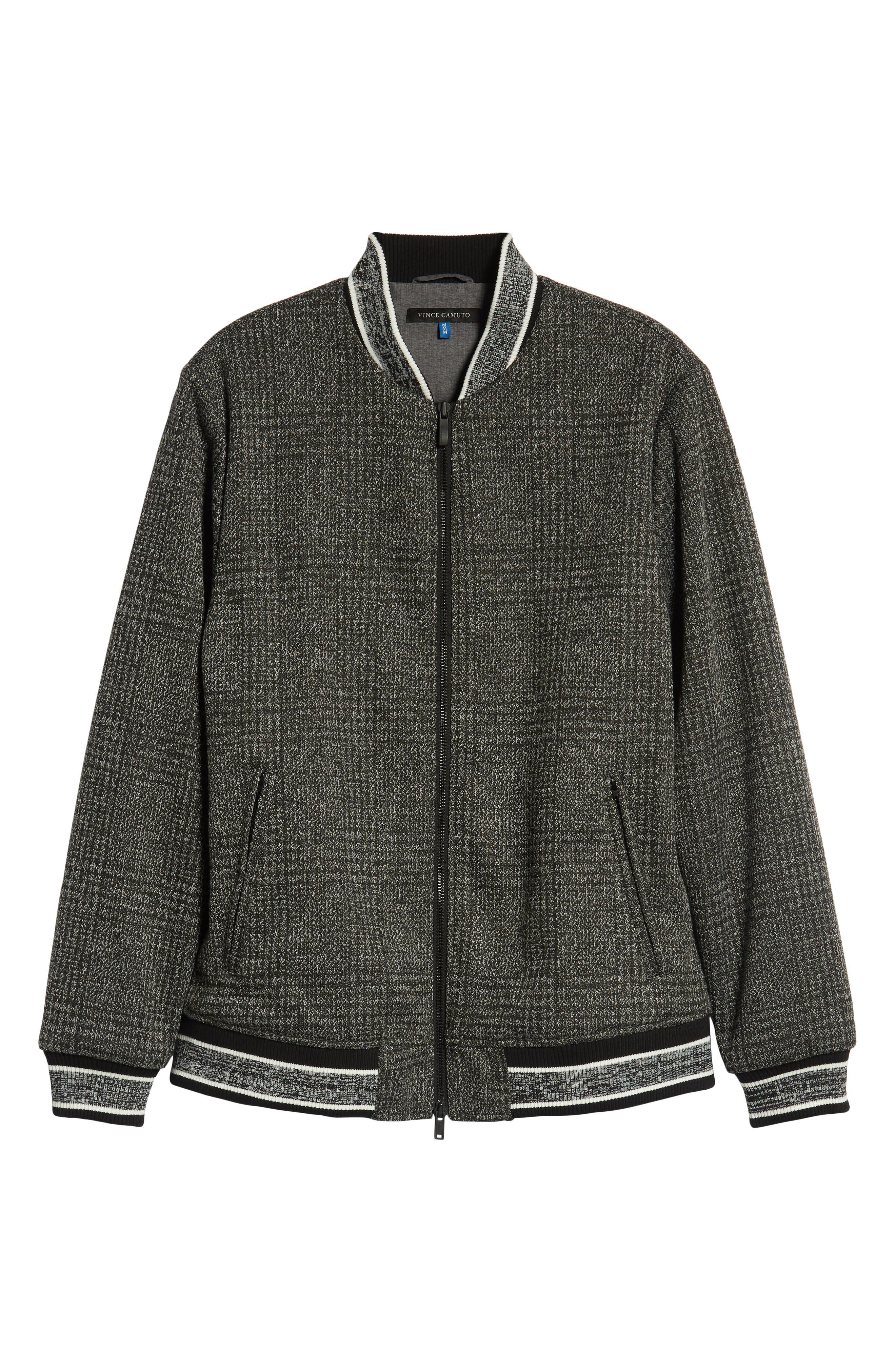 Slim Fit Plaid Knit Bomber Jacket,                             Alternate thumbnail 6, color,                             CHARCOAL PLAID