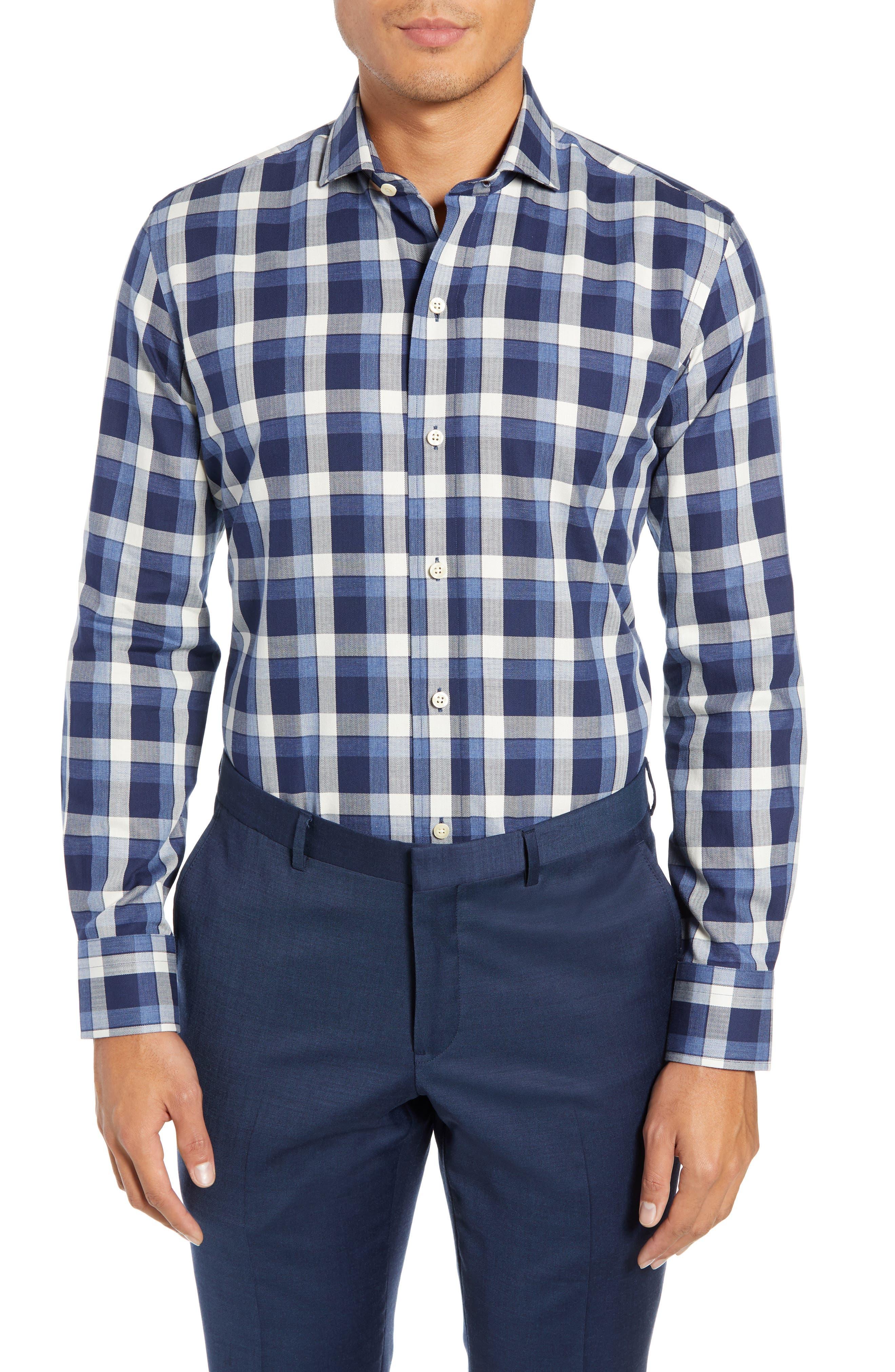 LEDBURY The Dietz Slim Fit Plaid Dress Shirt, Main, color, 410