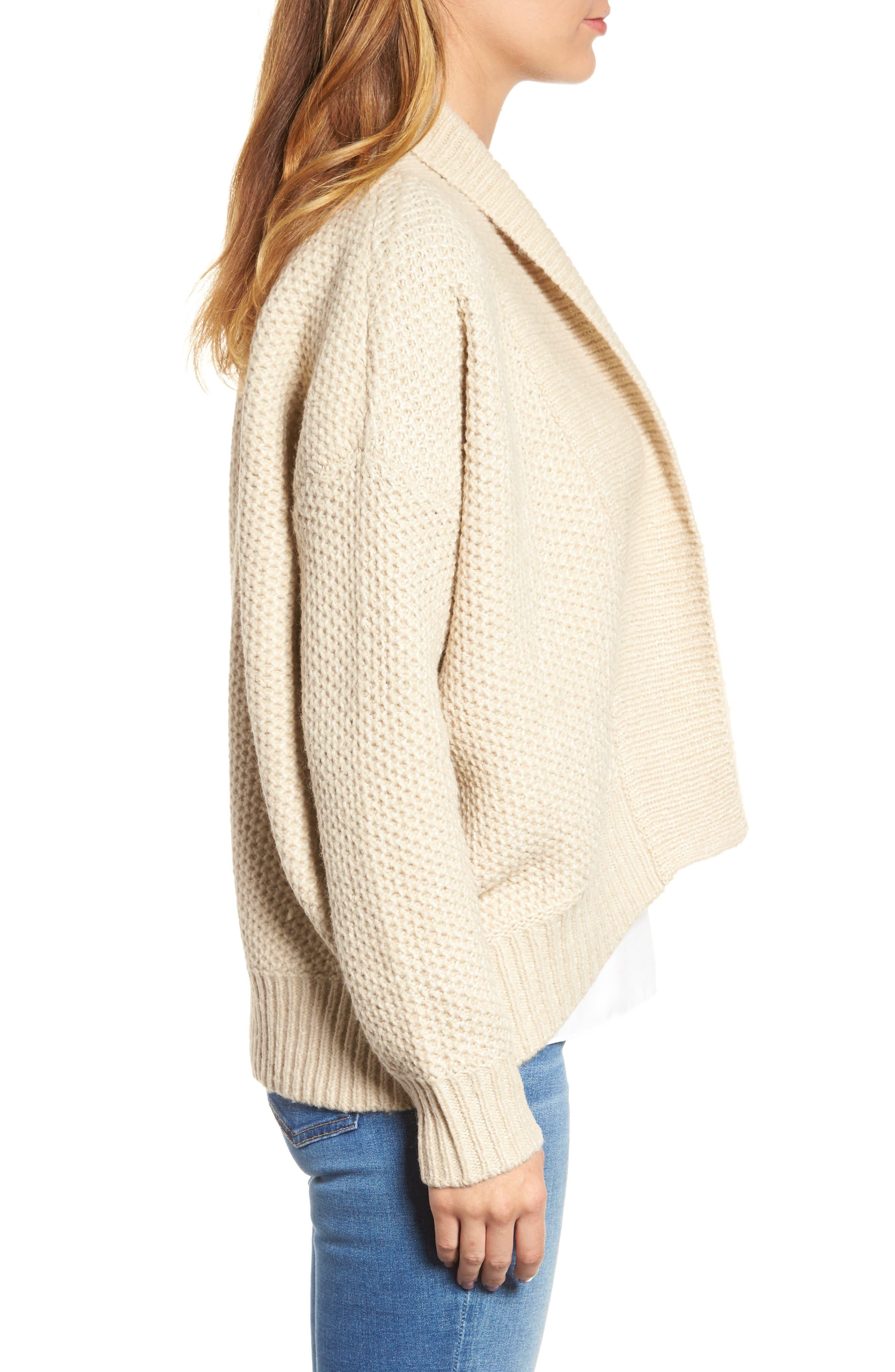 Drape Front Knit Cardigan,                             Alternate thumbnail 3, color,