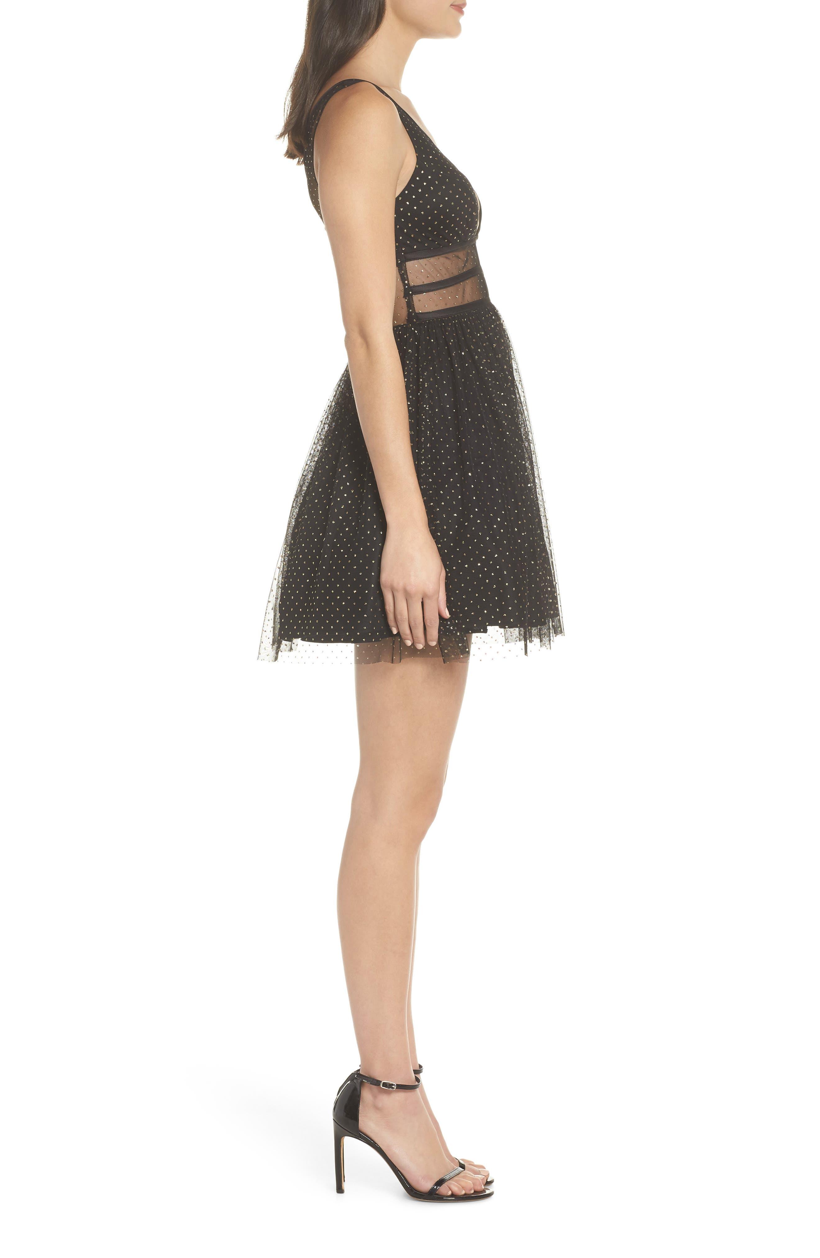Glitter Dot Fit & Flare Party Dress,                             Alternate thumbnail 3, color,                             BLACK/ GOLD