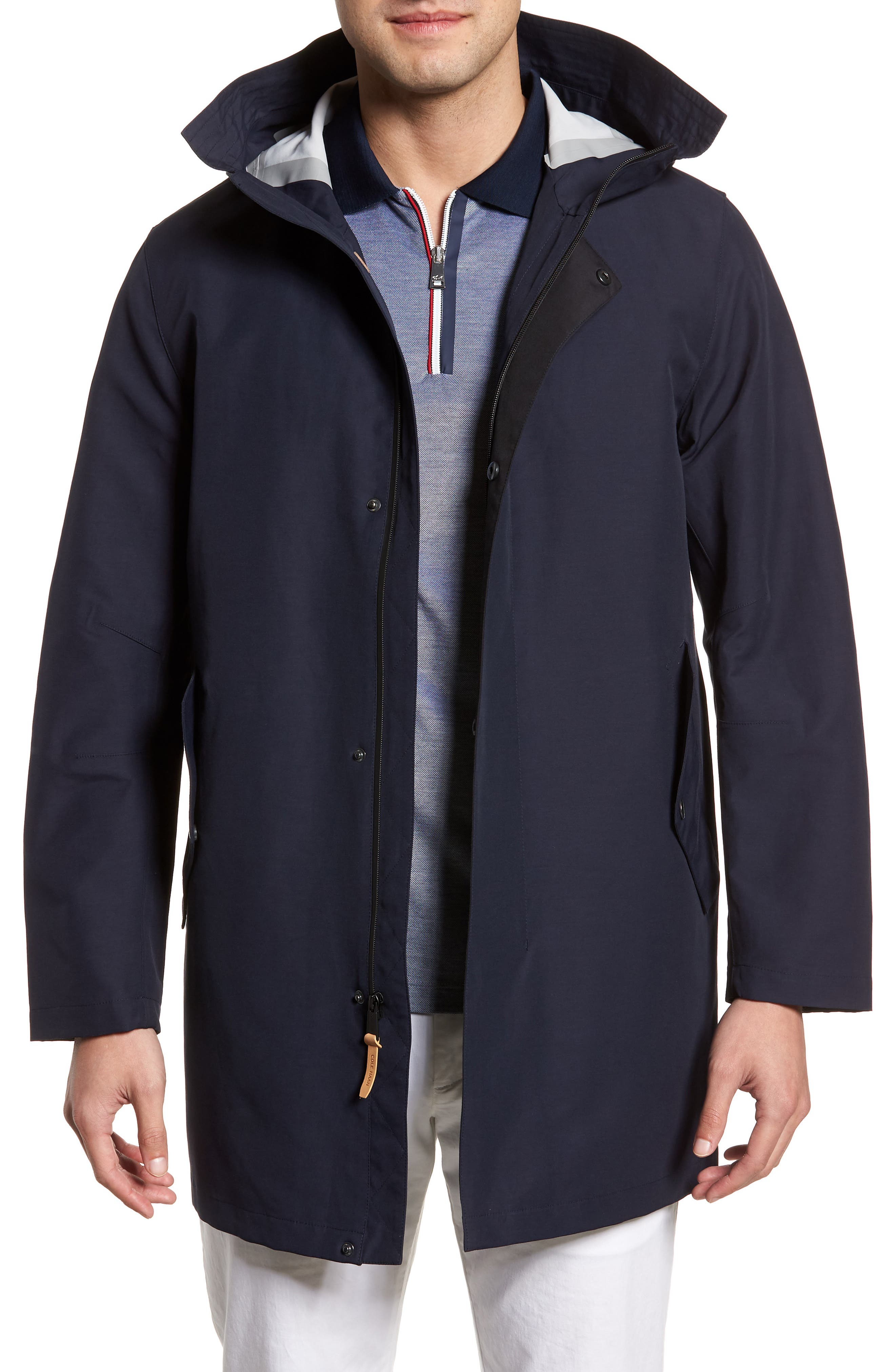 Bonded Cotton Blend Rain Jacket,                             Main thumbnail 1, color,                             NAVY