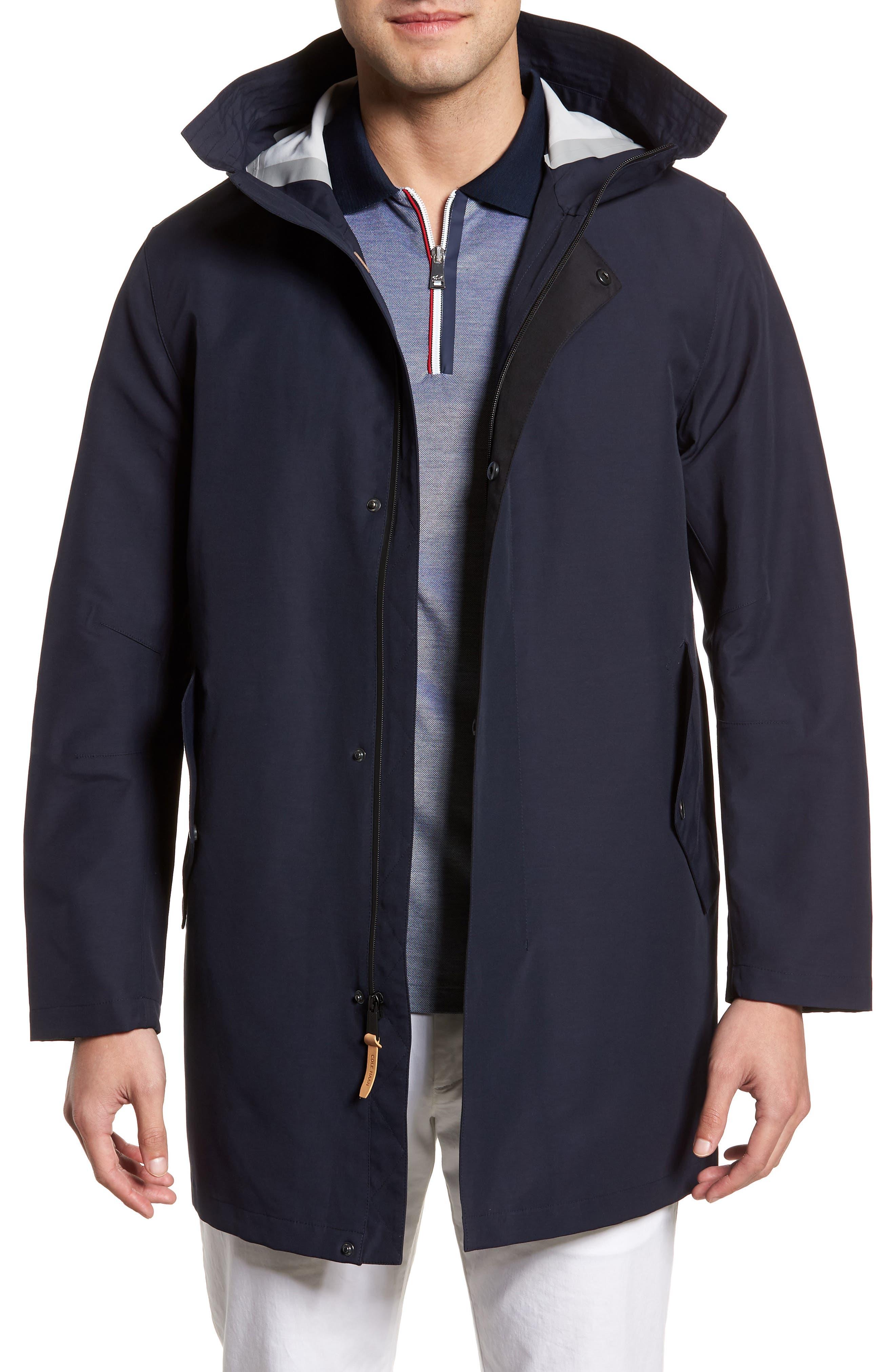 Bonded Cotton Blend Rain Jacket,                         Main,                         color, NAVY