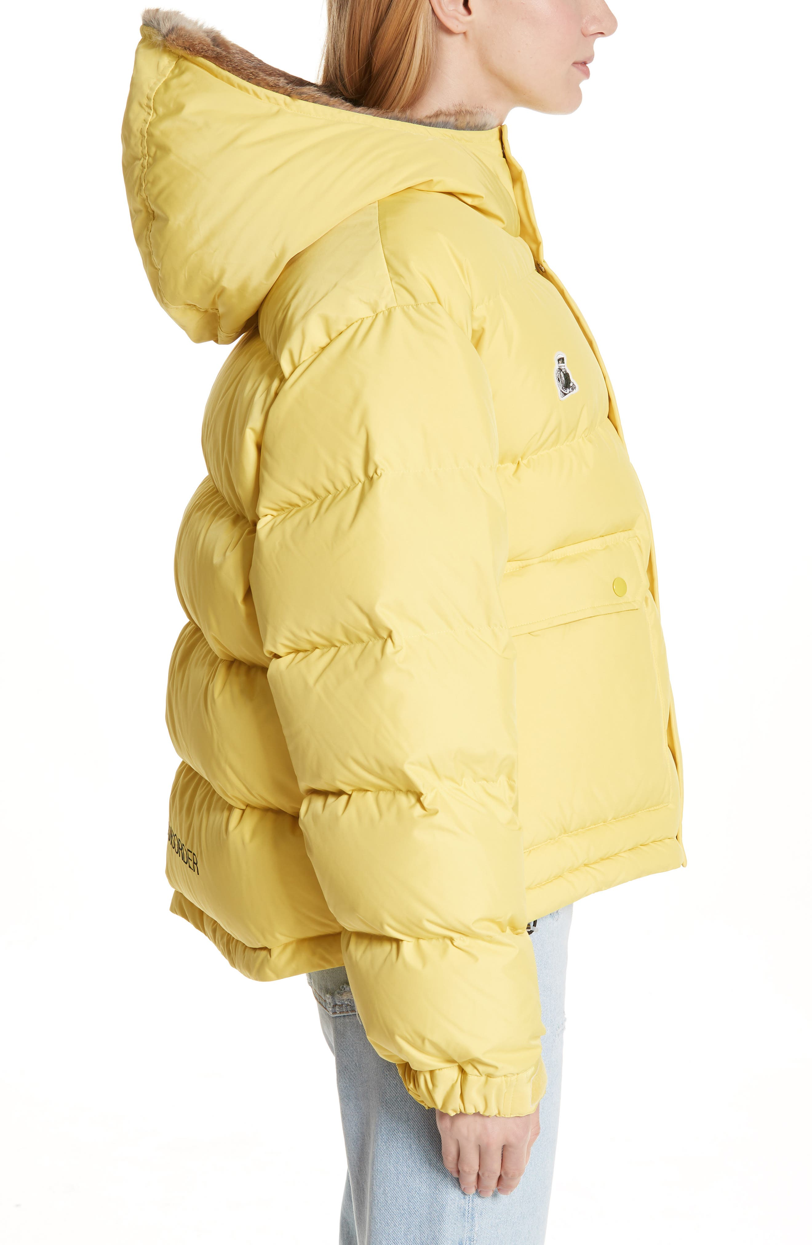 UNDERCOVER,                             Hooded Puffer Coat With Genuine Rabbit Fur Trim,                             Alternate thumbnail 3, color,                             700
