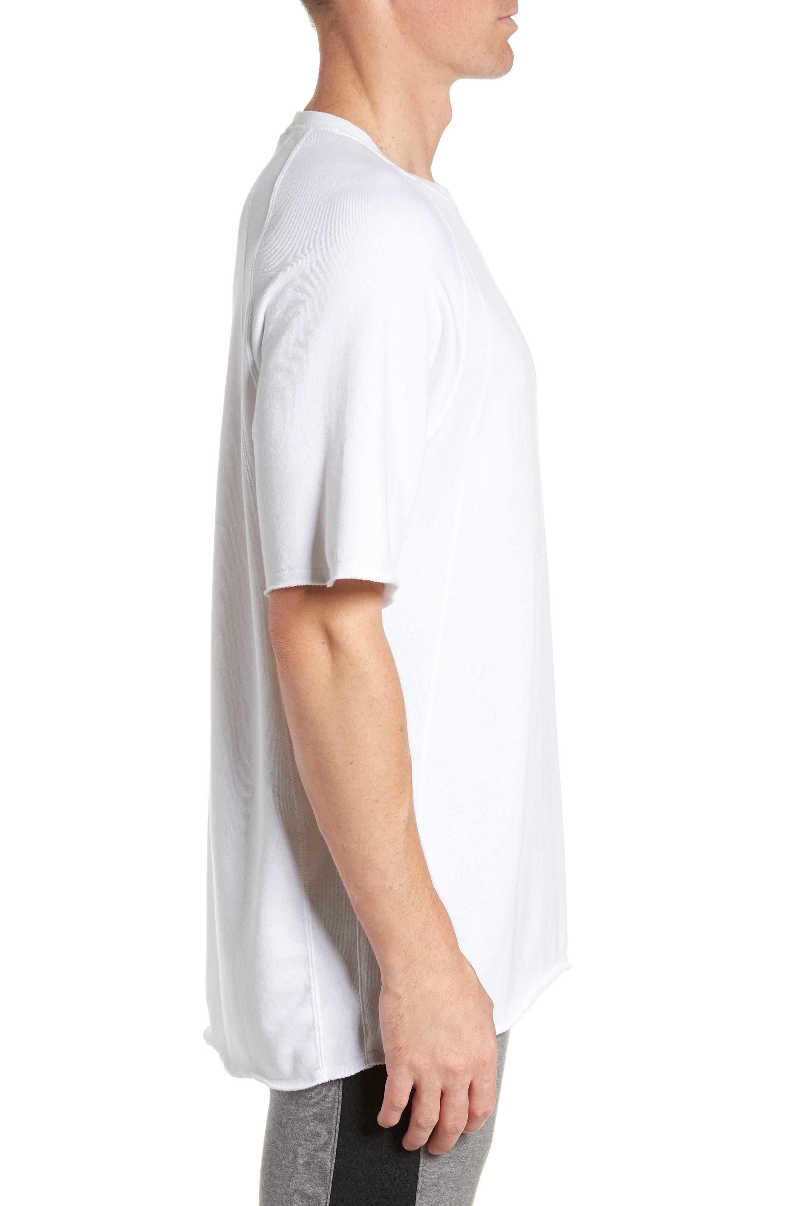 JORDAN,                             Wings Light Short Sleeve Sweatshirt,                             Alternate thumbnail 3, color,                             WHITE/ BLACK
