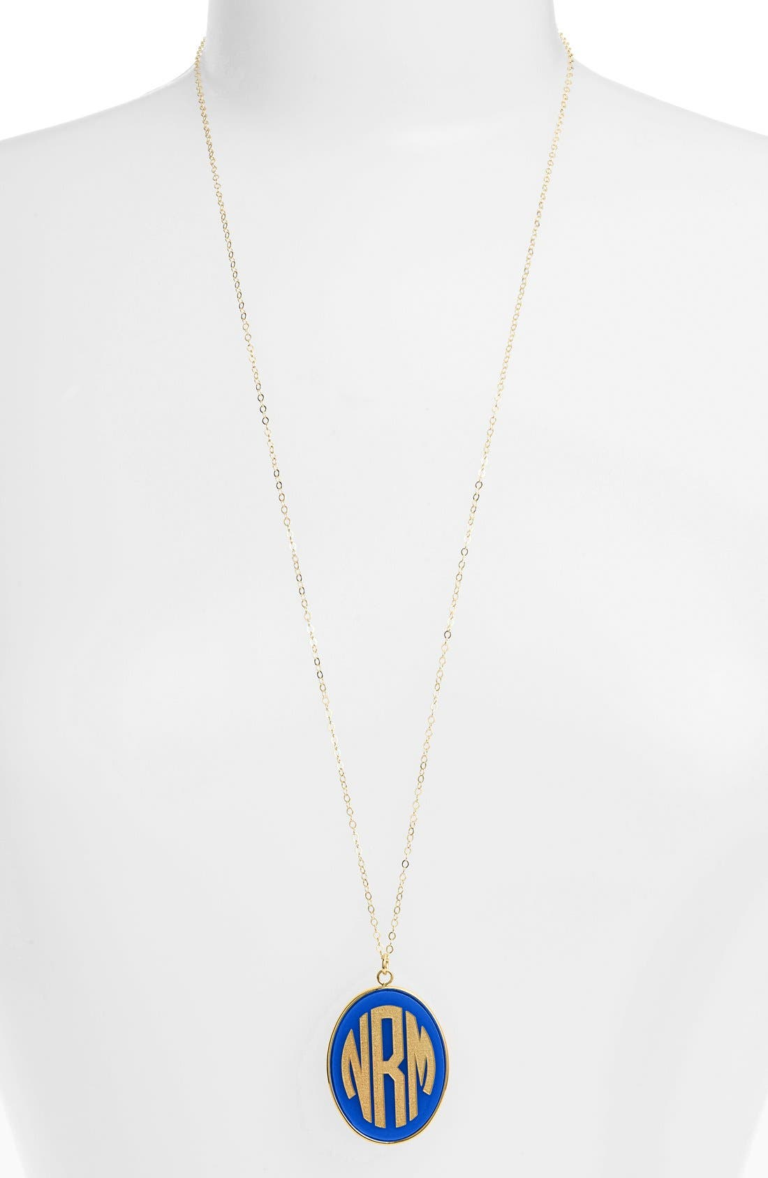 'Vineyard' Personalized Monogram Oval Pendant Necklace,                             Main thumbnail 1, color,                             COBALT