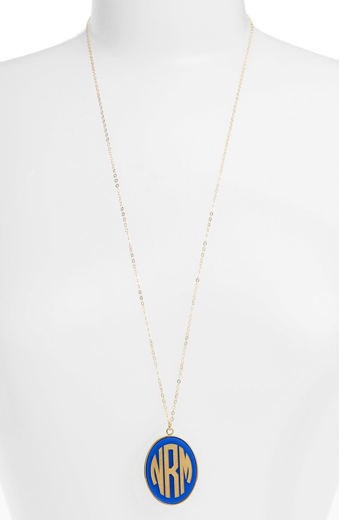 'Vineyard' Personalized Monogram Oval Pendant Necklace,                         Main,                         color, COBALT