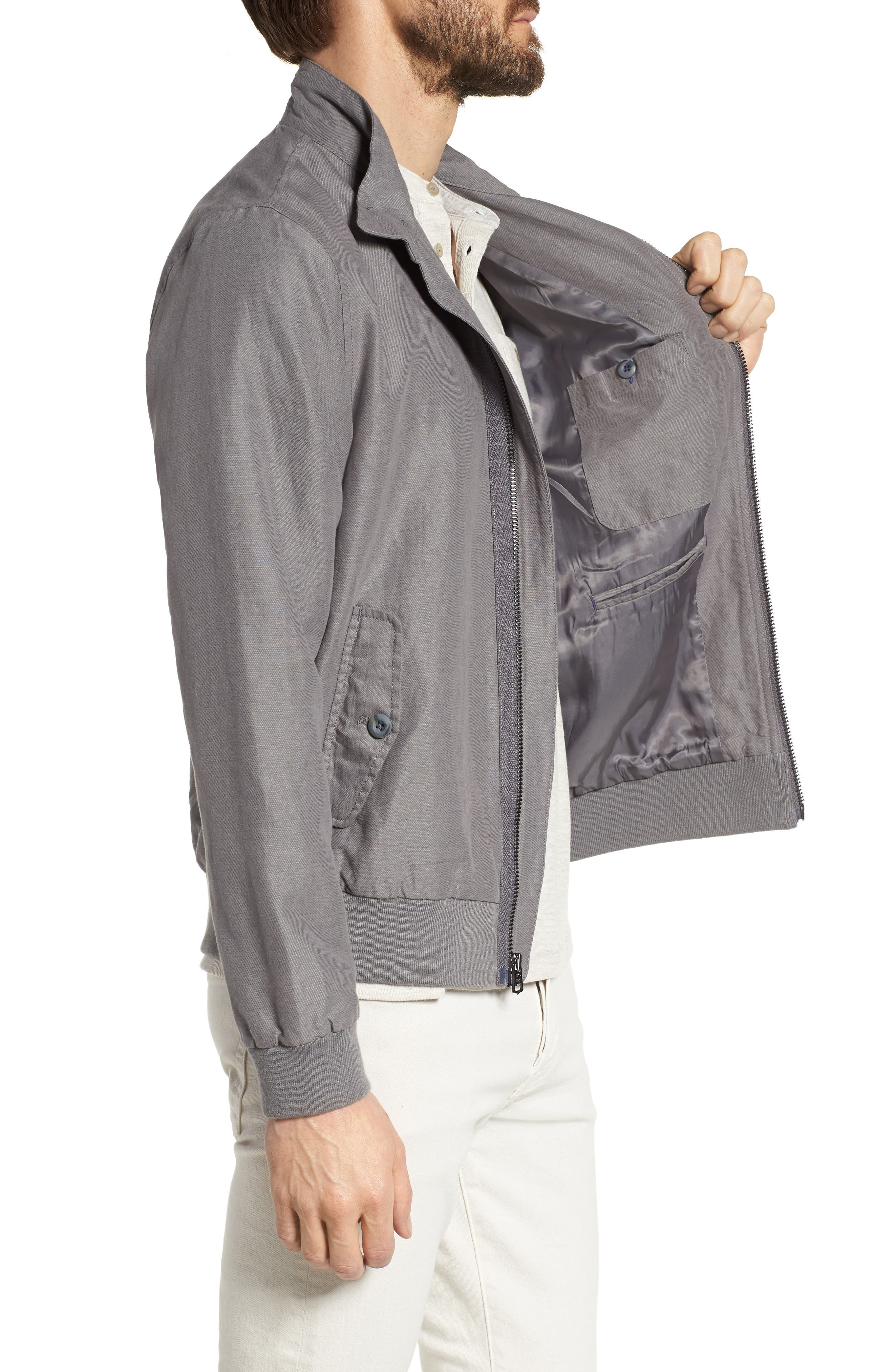 Harrington Linen & Cotton Jacket,                             Alternate thumbnail 3, color,                             SHADE