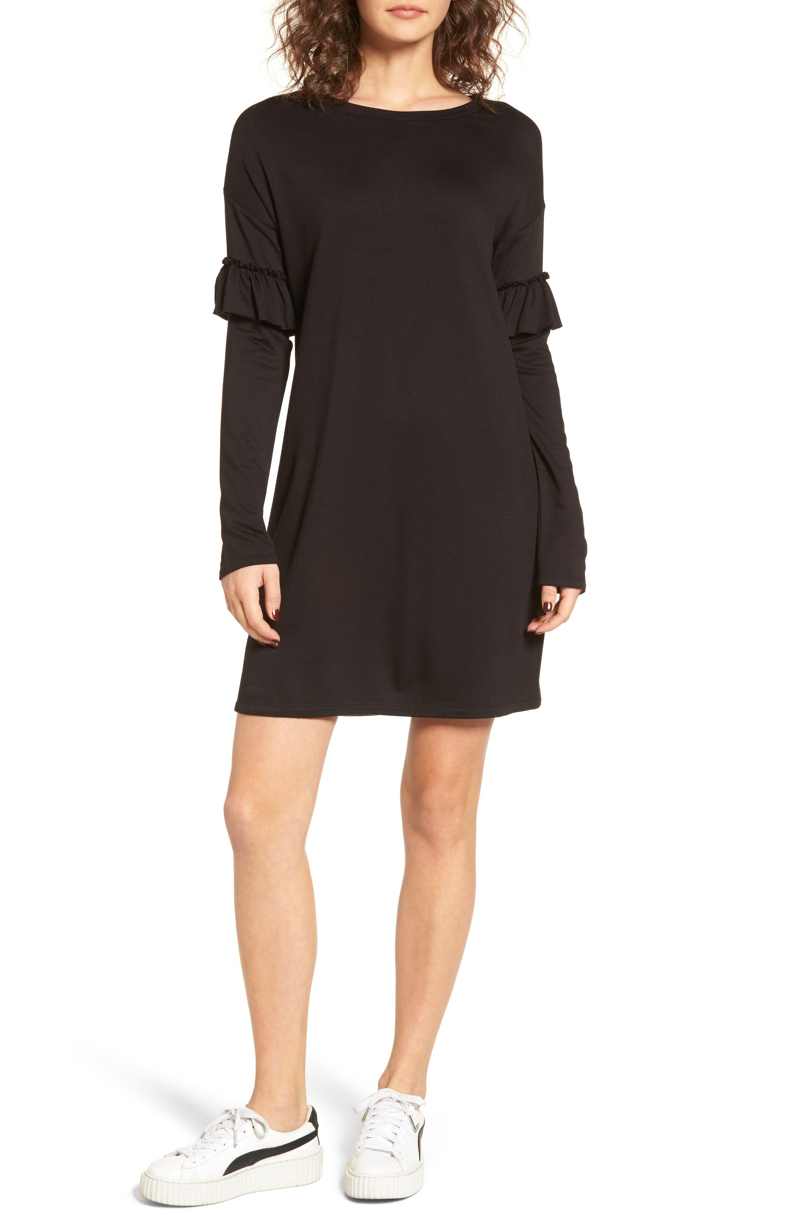 Ruffle Sleeve Sweater Dress,                             Main thumbnail 1, color,                             001