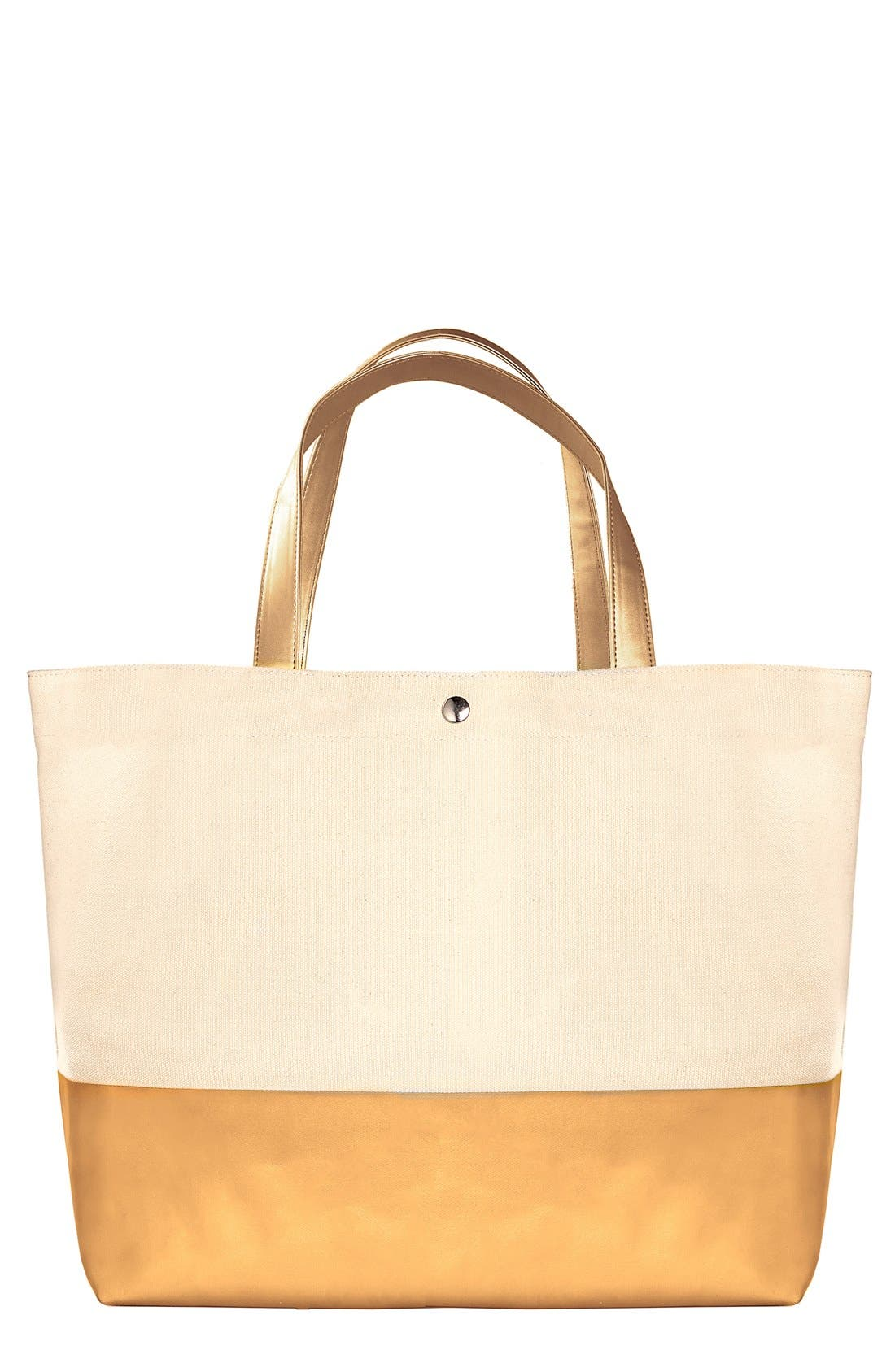 Monogram Canvas Tote,                         Main,                         color, GOLD
